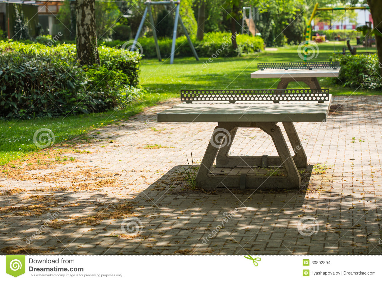 Ping Pong Tables In A Public Park Playground Stock Images - Image: 30892894