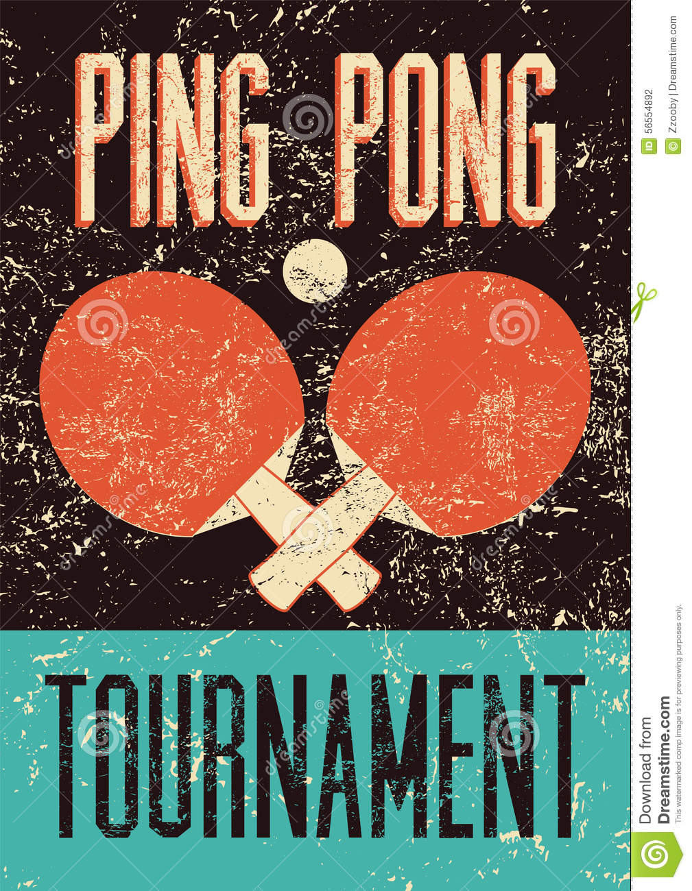 Ping Pong Typographical Vintage Grunge Style Poster Retro