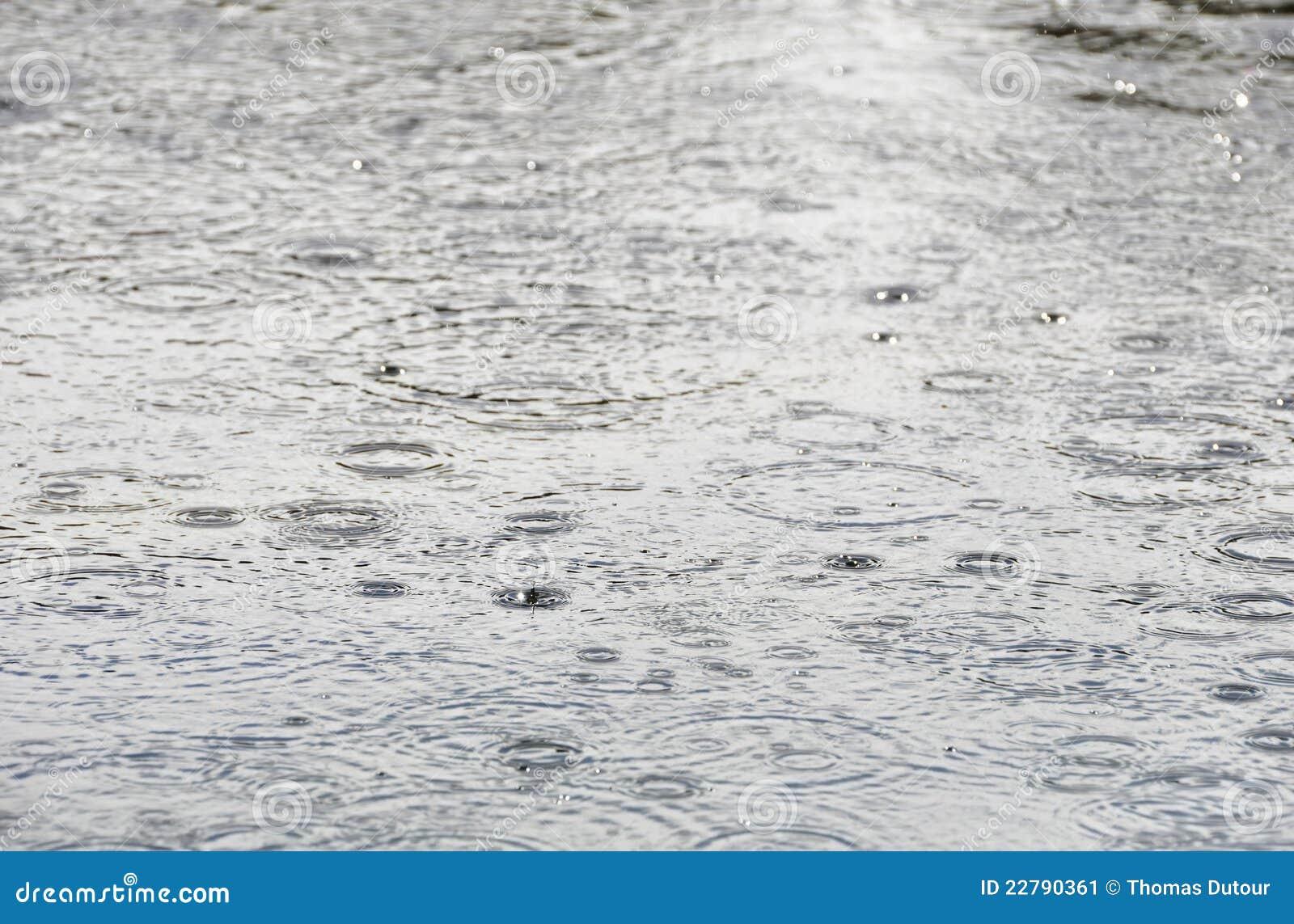 Pingos de chuva na superfície da água