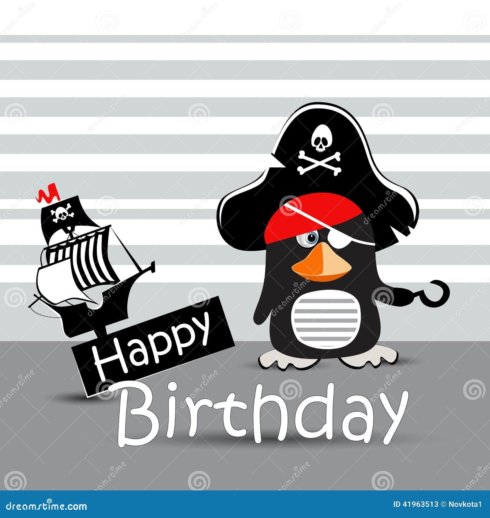 Pingouin De Pirate De Carte De Joyeux Anniversaire Drole Illustration Stock Illustration Du Carte Drole 41963513