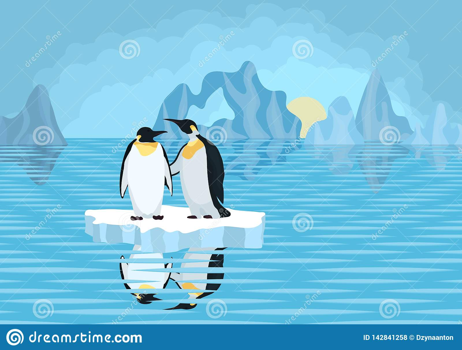 Pingouins De L Antarctique Sur La Banquise En Mer Illustration Stock Illustration Du Antarctique Banquise 142841258