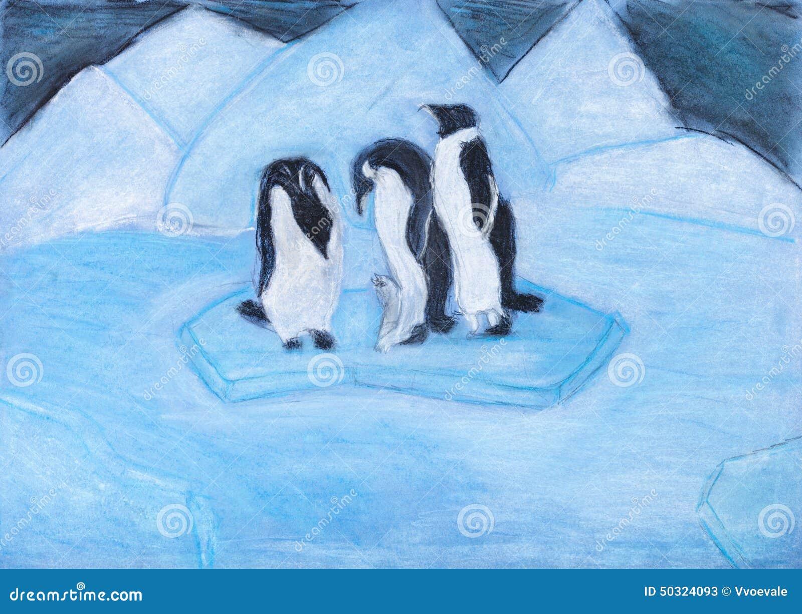 pingouins sur la banquise dans la nuit bleue froide illustration stock image 50324093. Black Bedroom Furniture Sets. Home Design Ideas