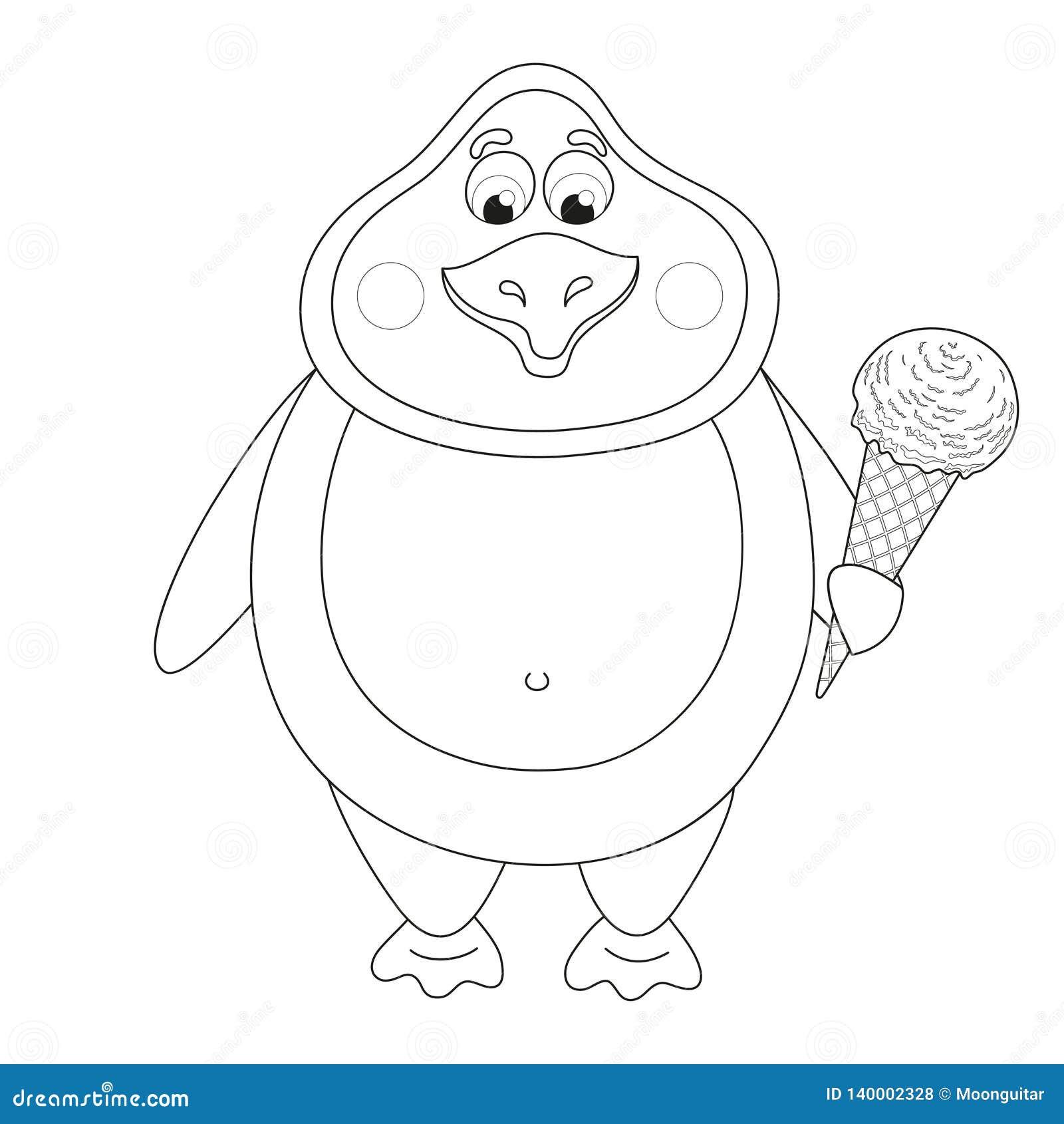 Pinguim Dos Desenhos Animados Com Gelado No Chifre Livro Para