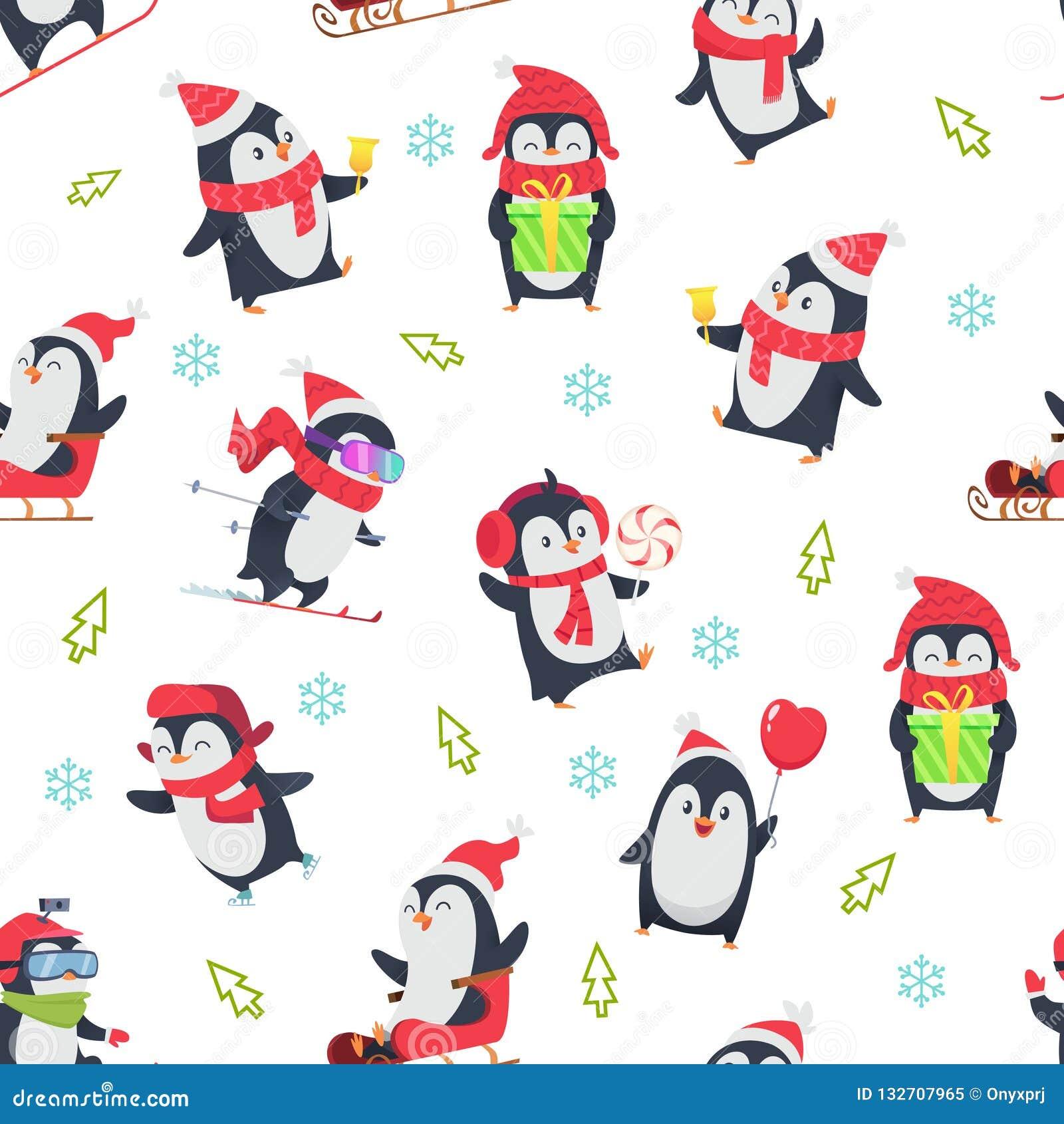 Pinguin无缝的样式 动画片与冬天雪野生逗人喜爱的动物的传染媒介例证的纺织品设计在各种各样的