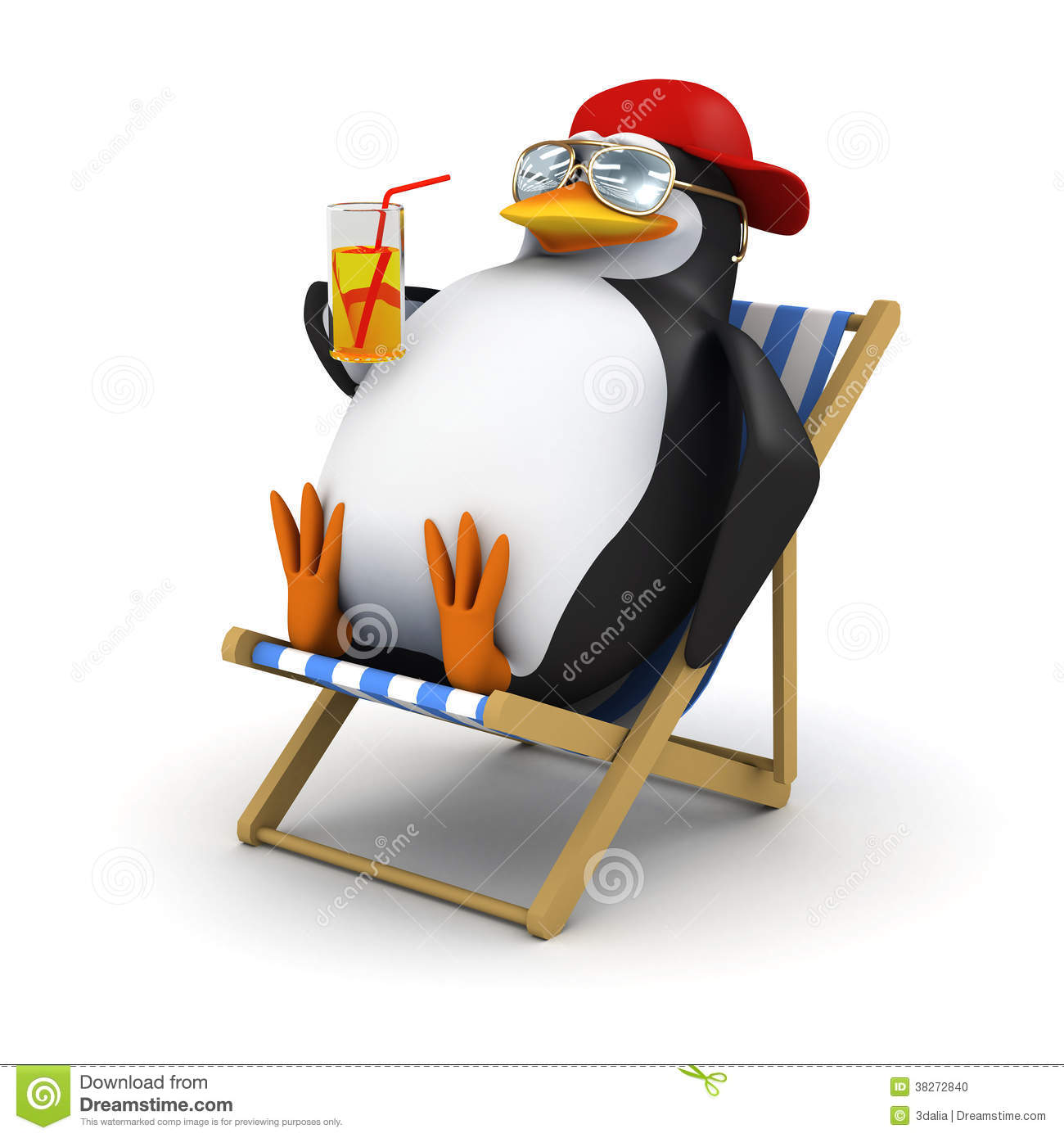 pinguin 3d entspannt sich im deckchair stock abbildung. Black Bedroom Furniture Sets. Home Design Ideas