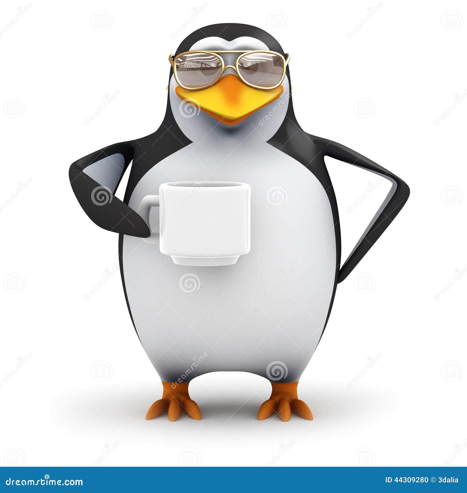 Pinguin 3d Macht Eine Pause Stock Abbildung Illustration Von