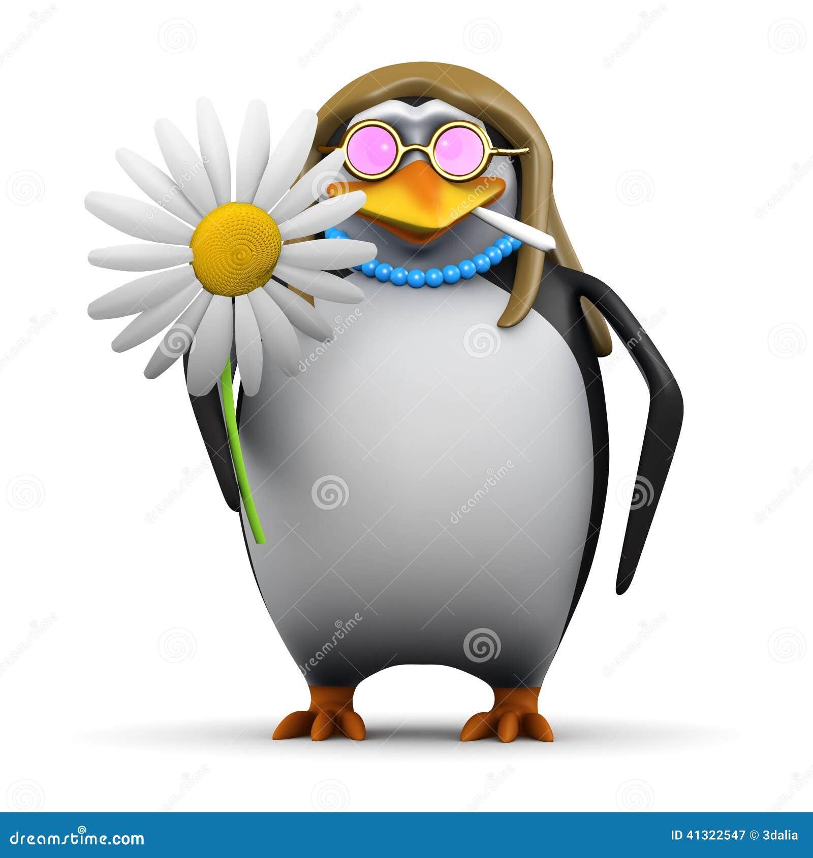 pinguin der hippie 3d mit blume stock abbildung illustration von fl gel gesch pf 41322547. Black Bedroom Furniture Sets. Home Design Ideas