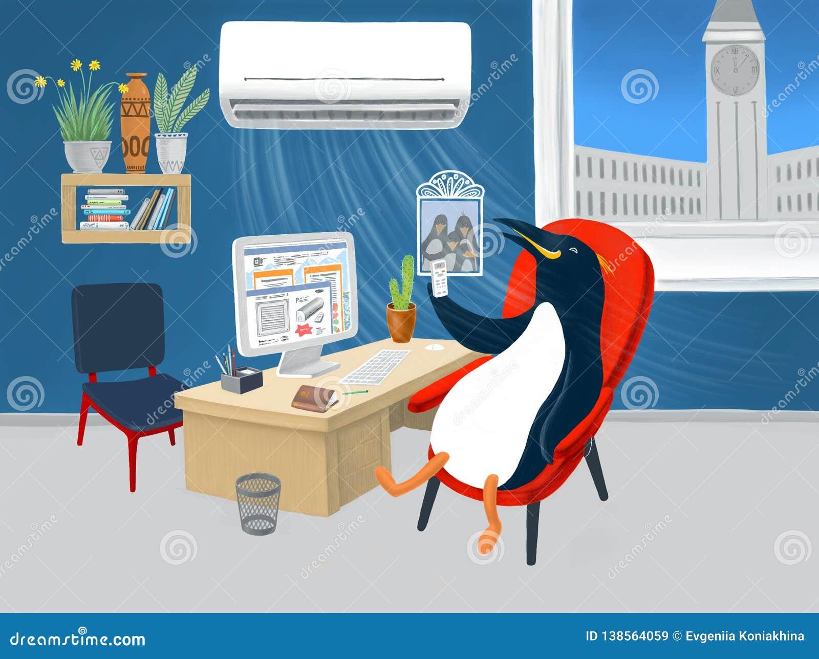 Pinguin im Büro