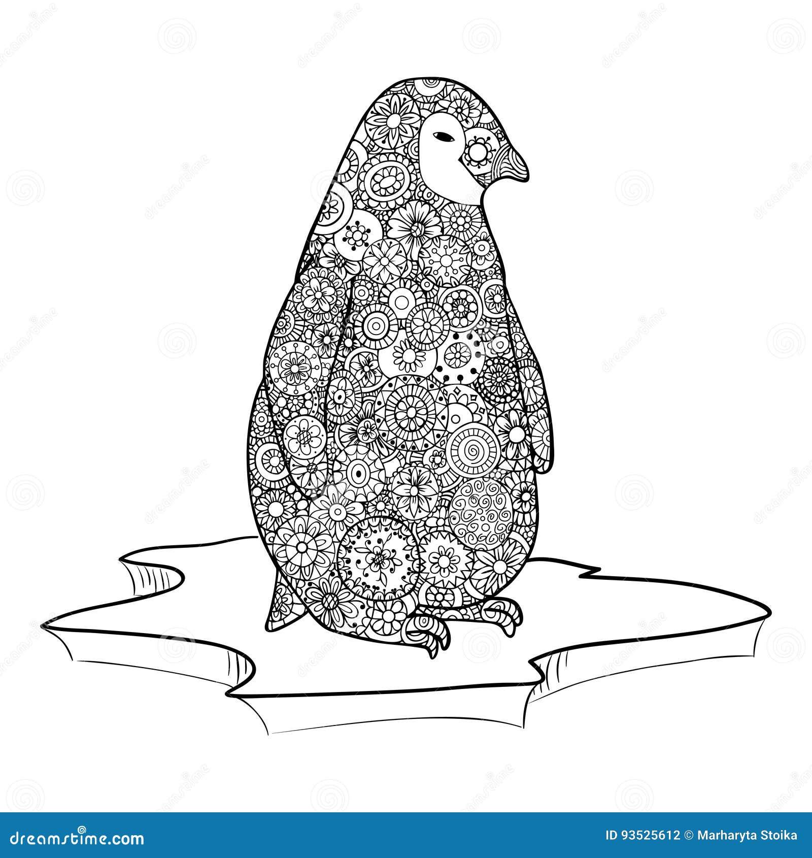 Pinguin Steht Auf Einer Eisscholle Zenverwicklungsvektor