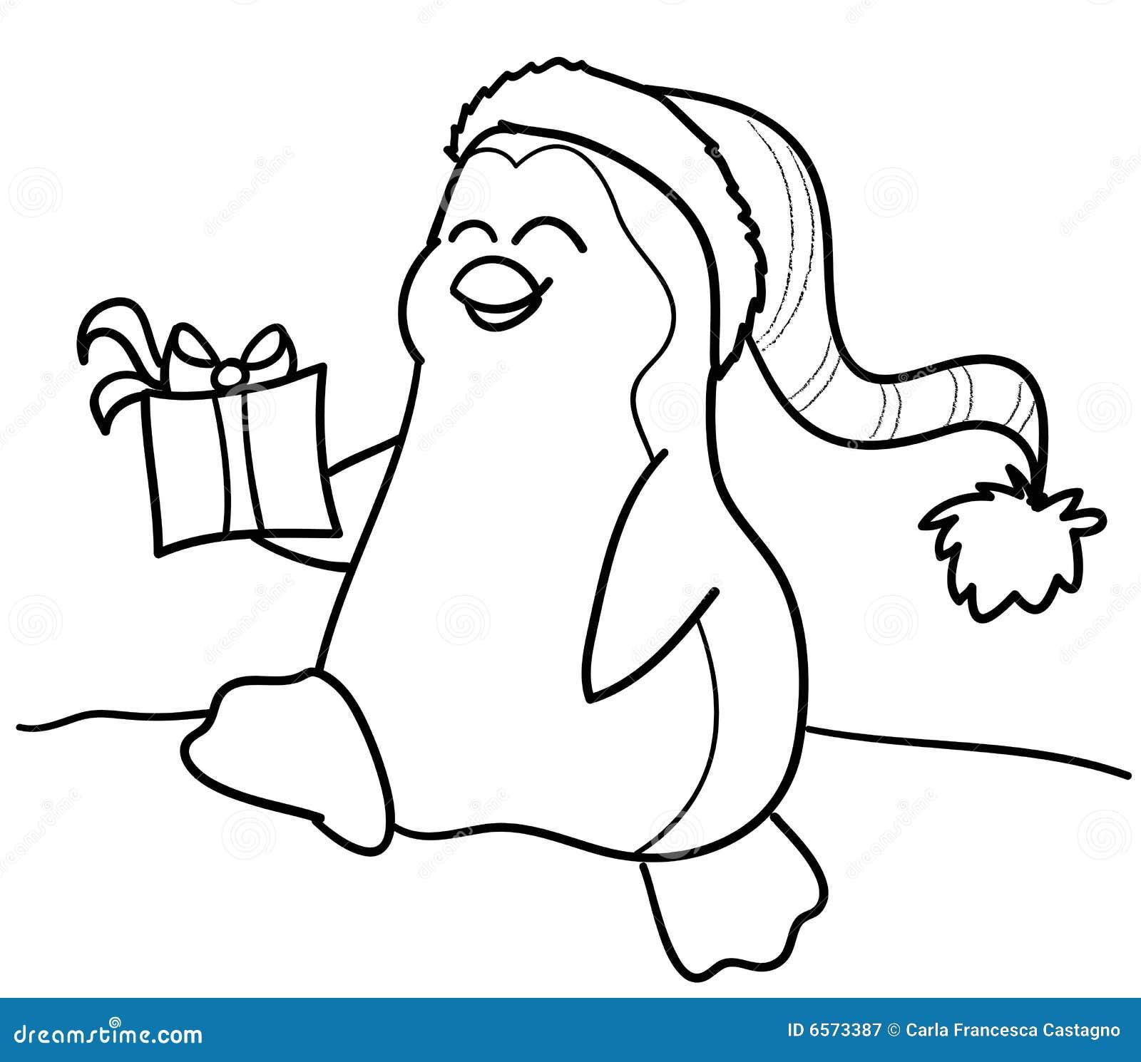 Pinguin und Geschenk vektor abbildung. Illustration von recht