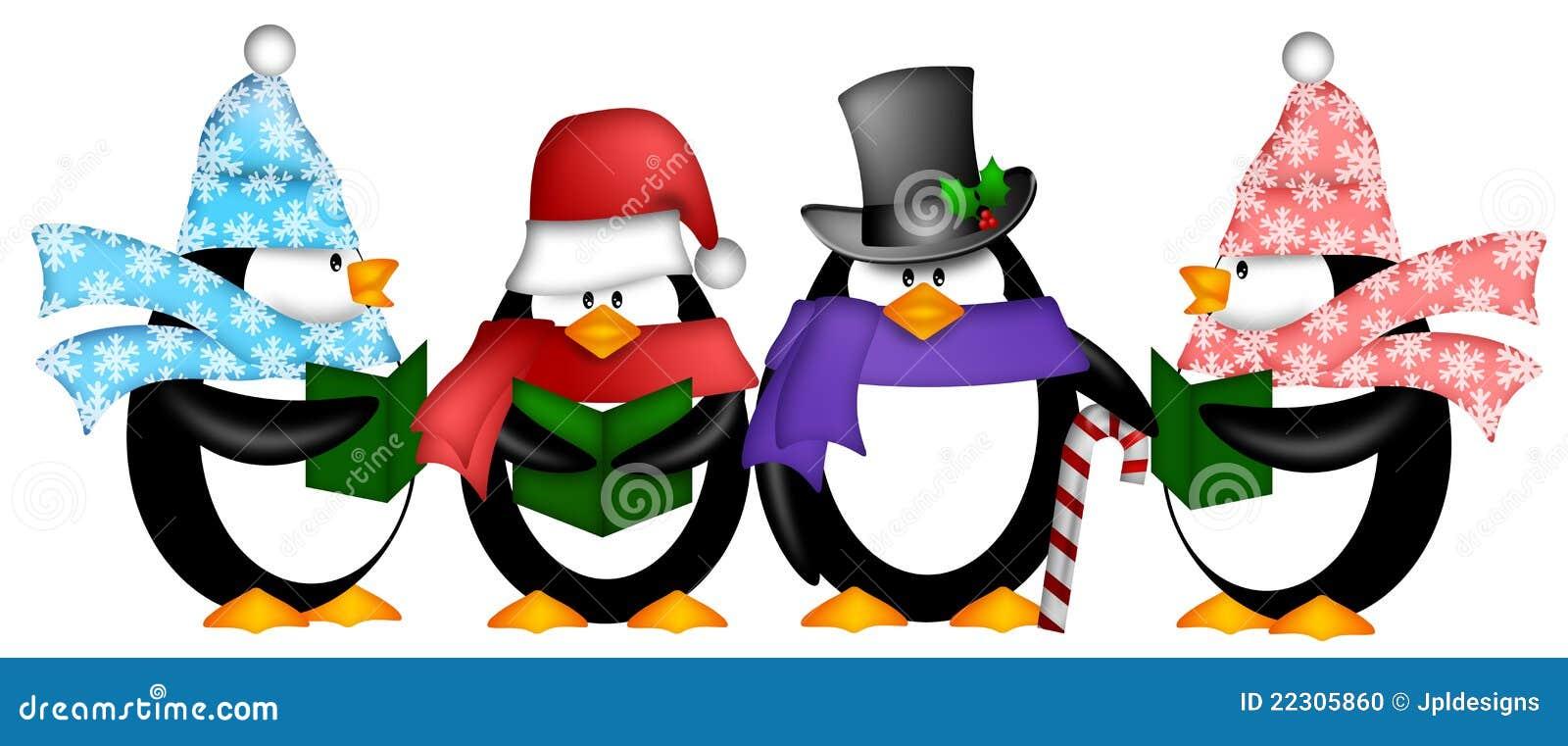 Pinguine, Die Weihnachtscarol-Karikatur Clipart Singen Stock ...