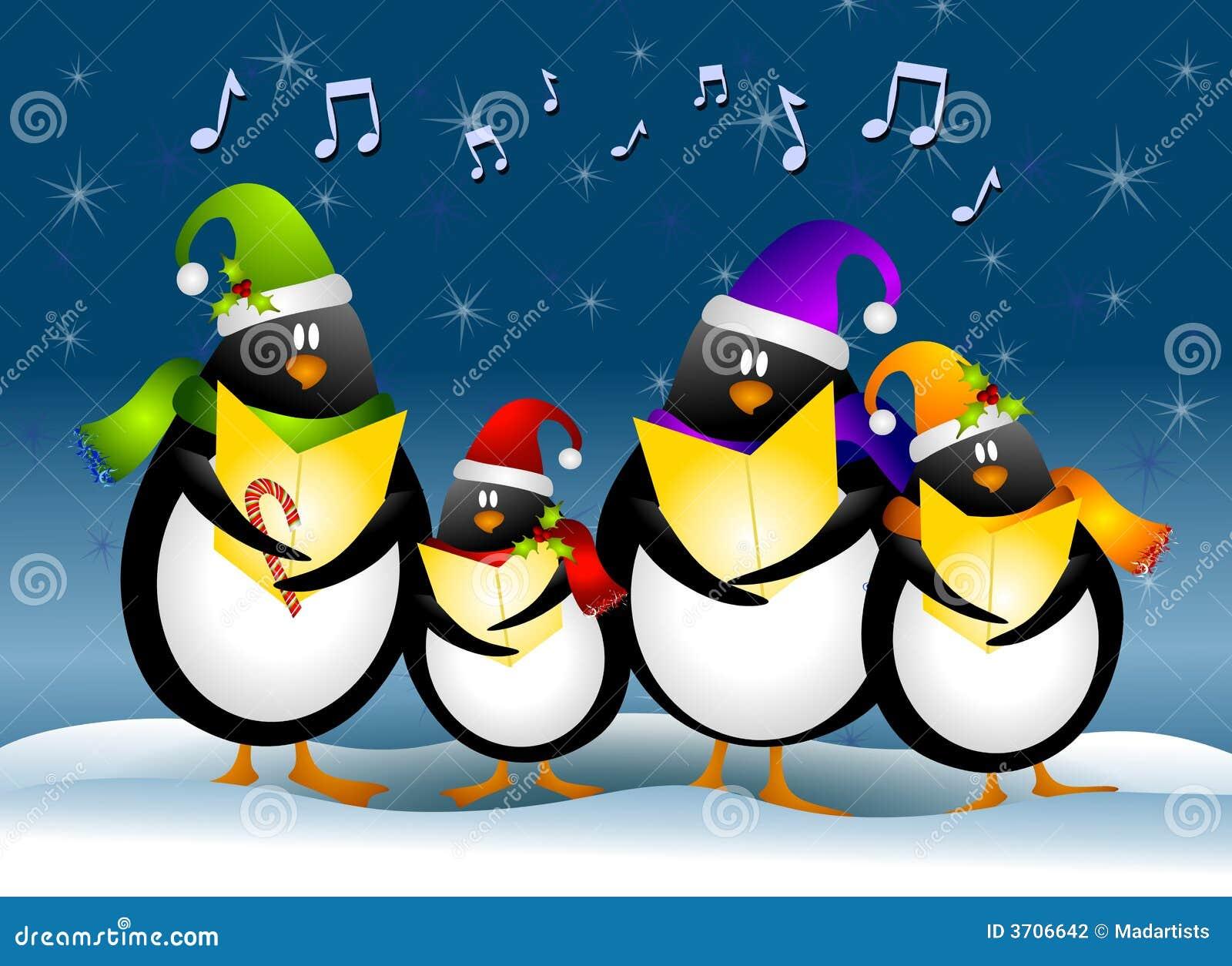 Pinguini di natale di canto illustrazione di stock - Pinguini di natale immagini ...