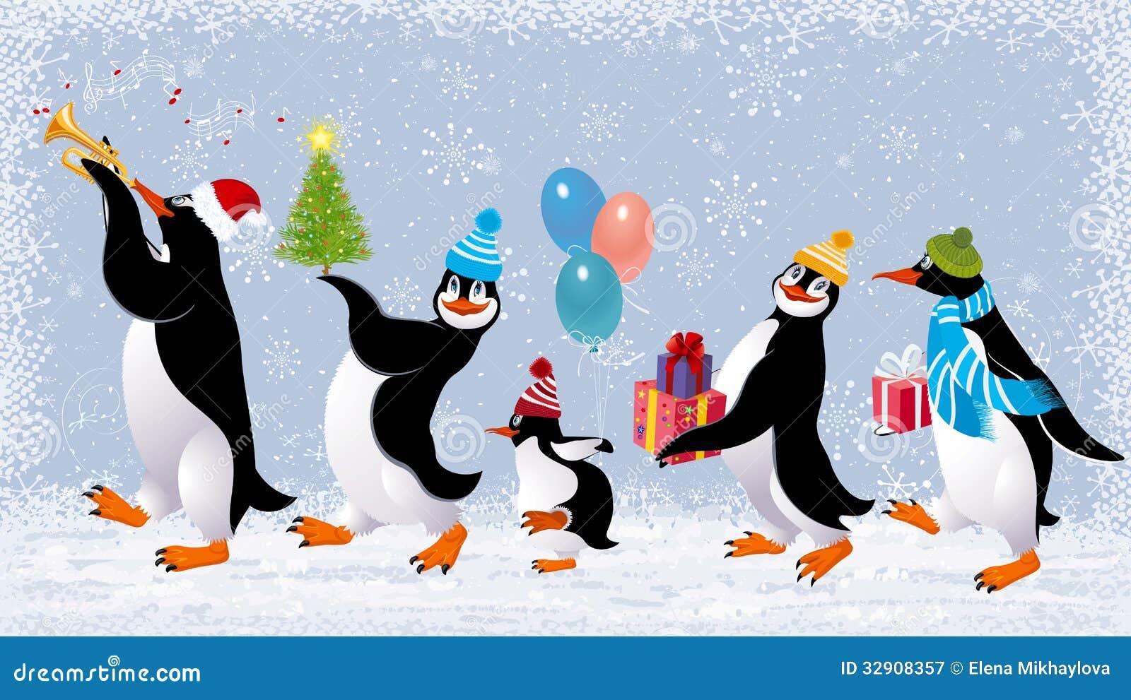 pinguini divertenti illustrazione vettoriale