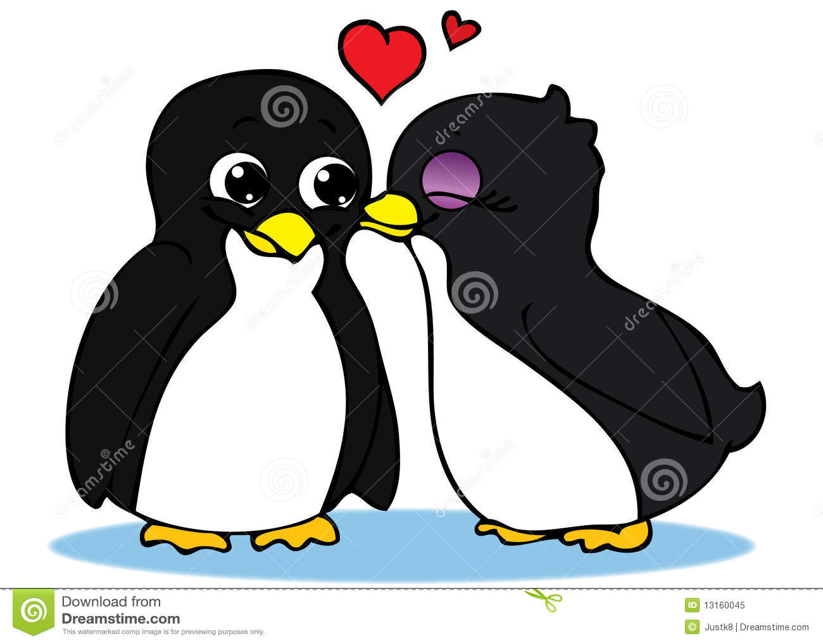Pinguini nell'amore illustrazione di stock Illustrazione