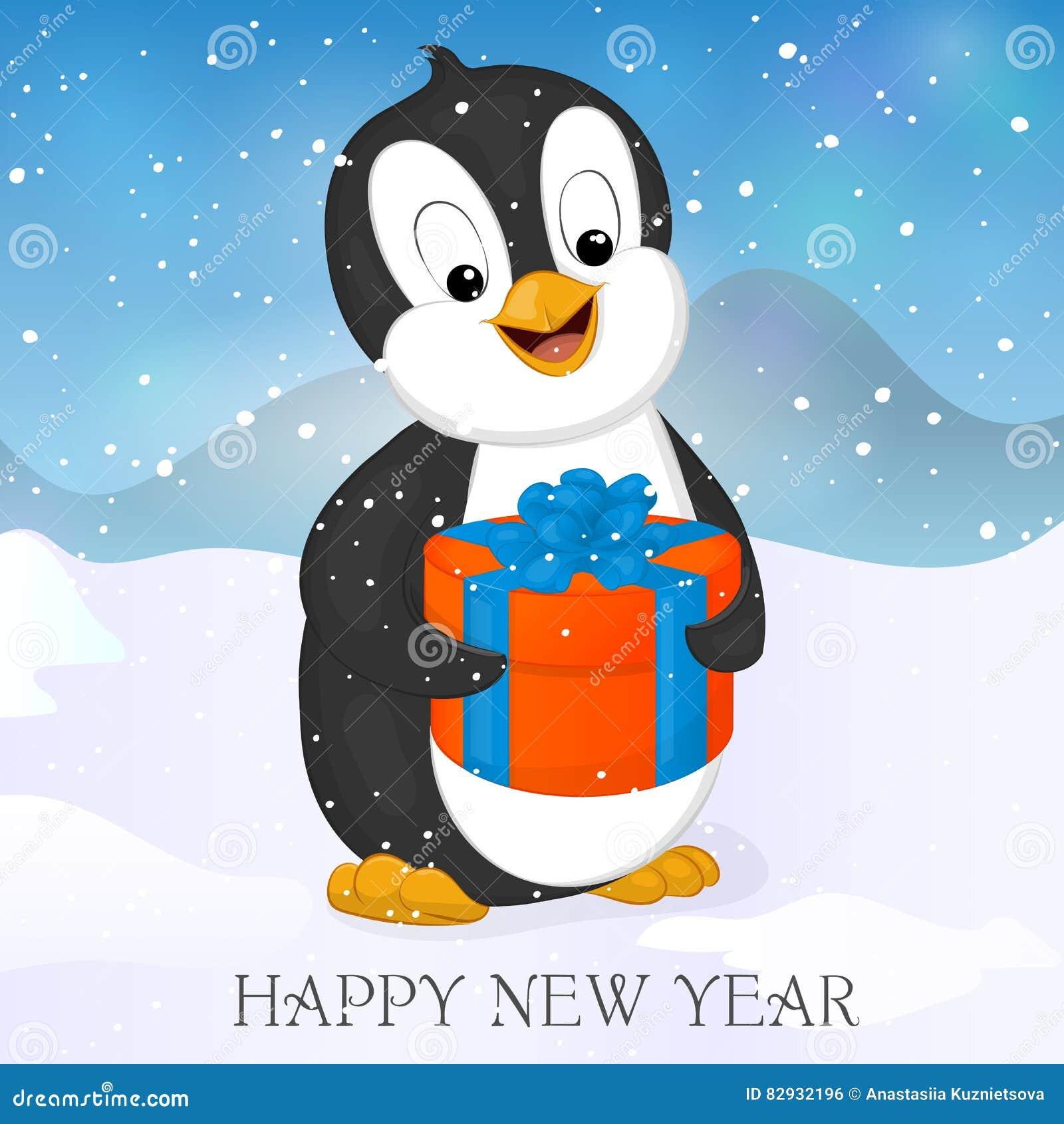 Pinguino Divertente E Sveglio Con Il Natale Presente Buon