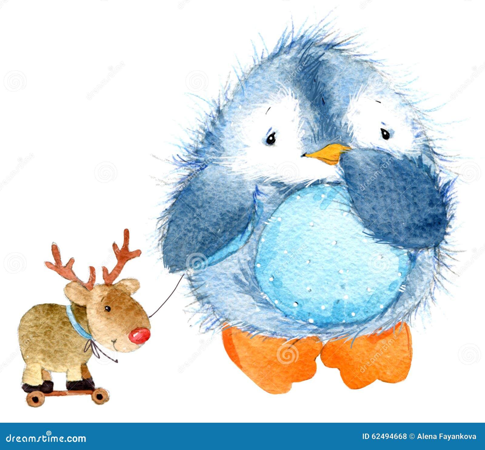 Pinguino lanuginoso sveglio dell uccello Pinguino divertente dell acquerello
