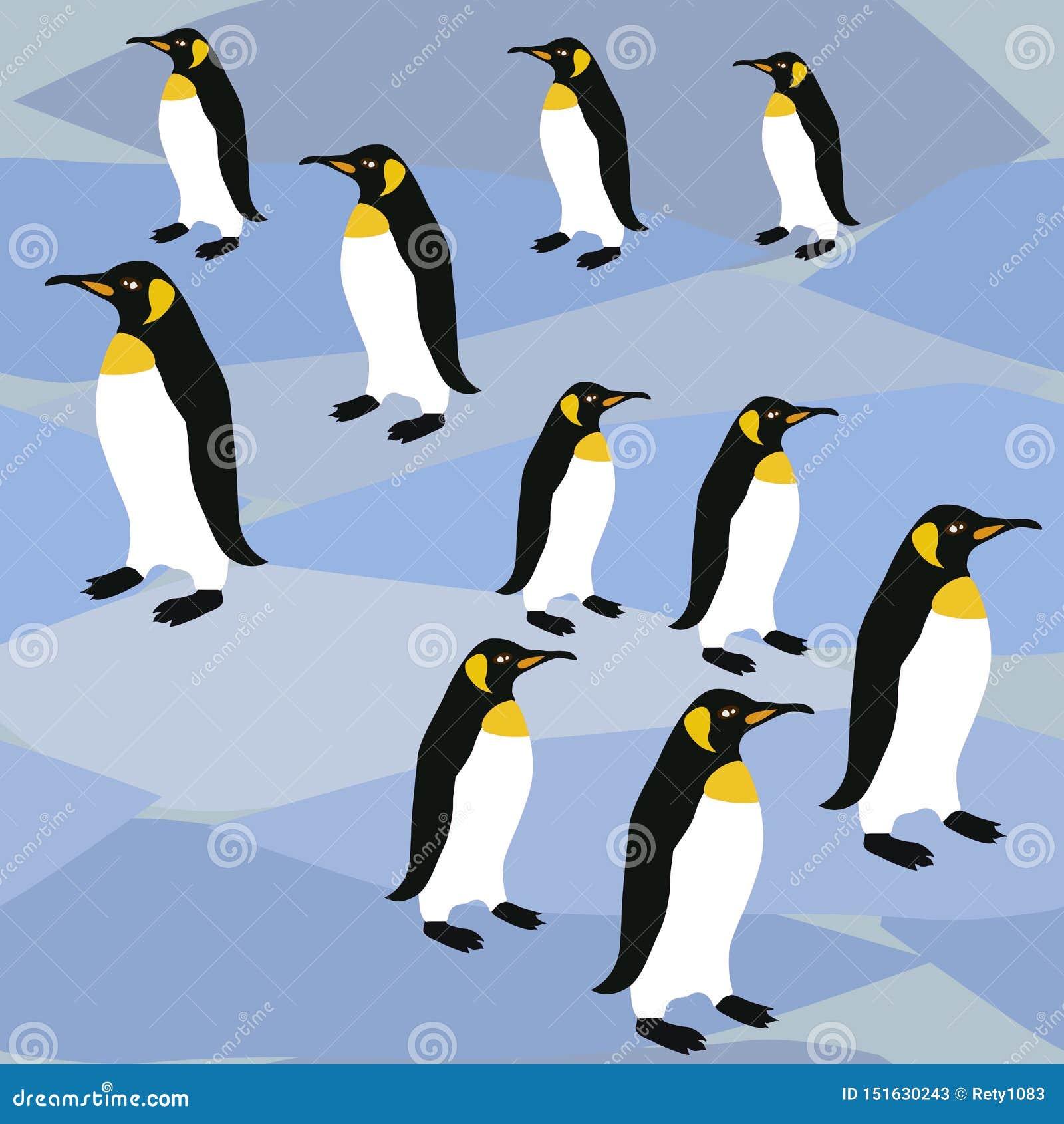 Pingvin på is ytbehandlar modellen, för modellkejsaren för konungen Penguins Winter Repeat pingvin för textildesign, tyg som skri