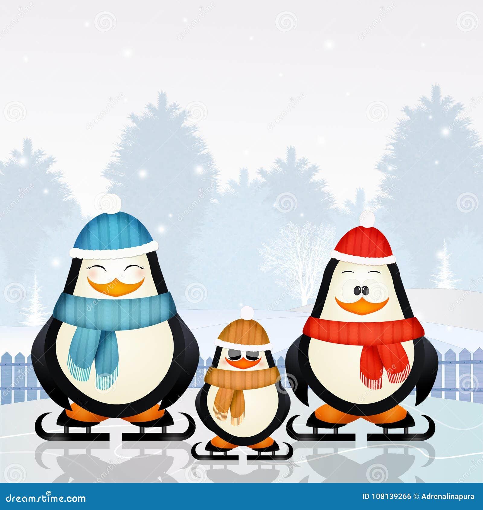 Pingvin som åker skridskor på is i vinter