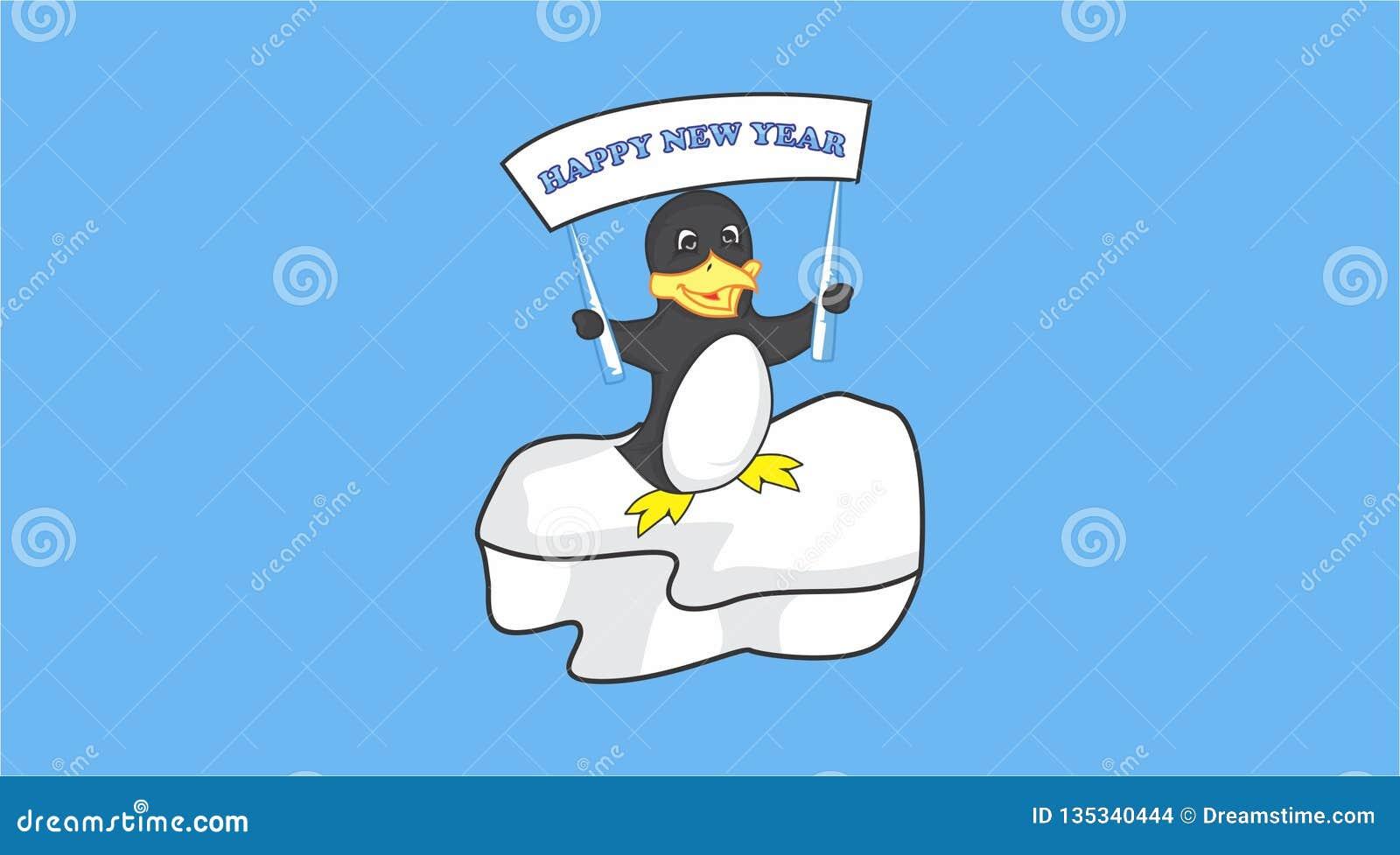 Pingvinet önskar att säga lyckligt nytt år