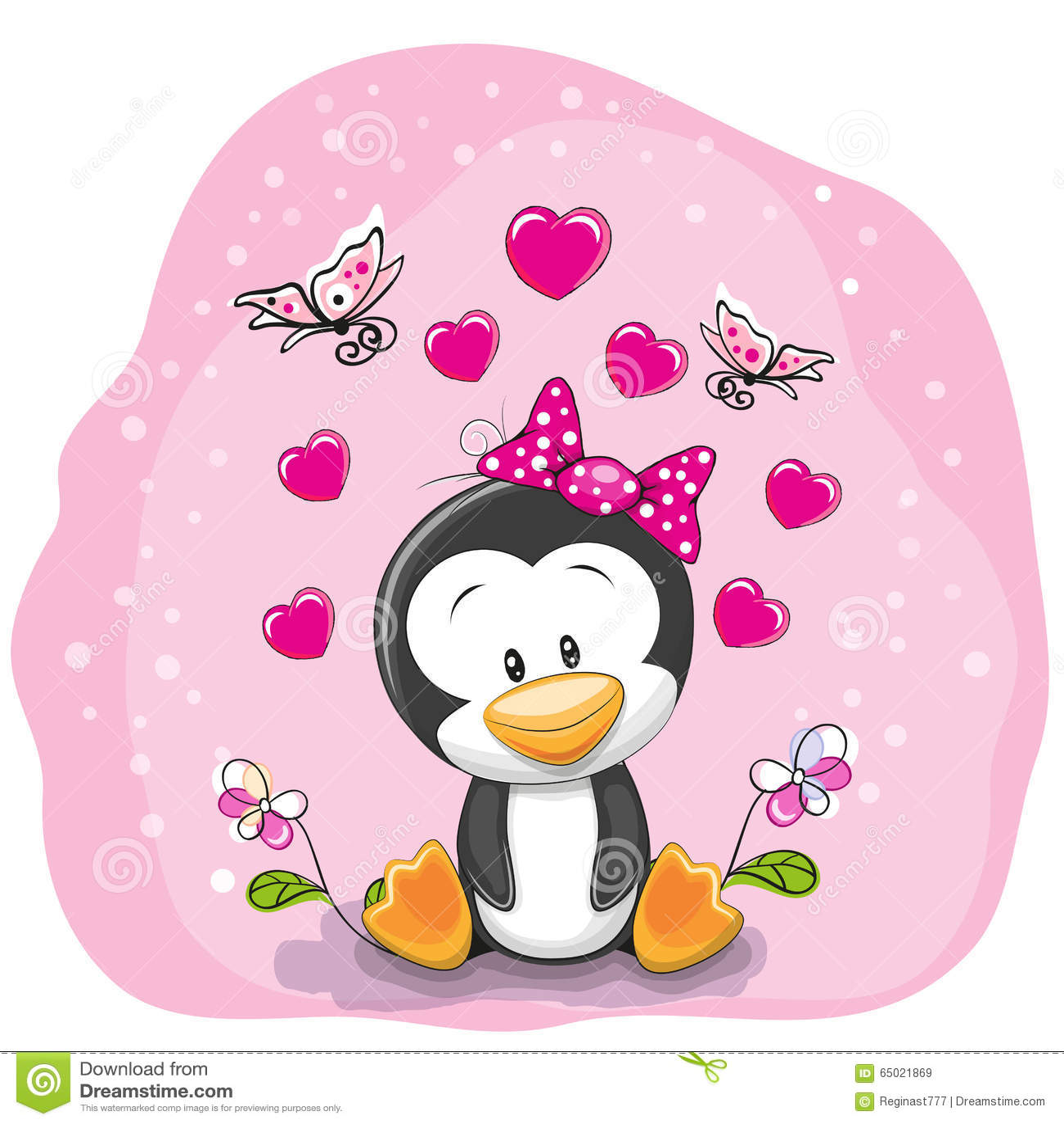 Pingwin z kwiatami