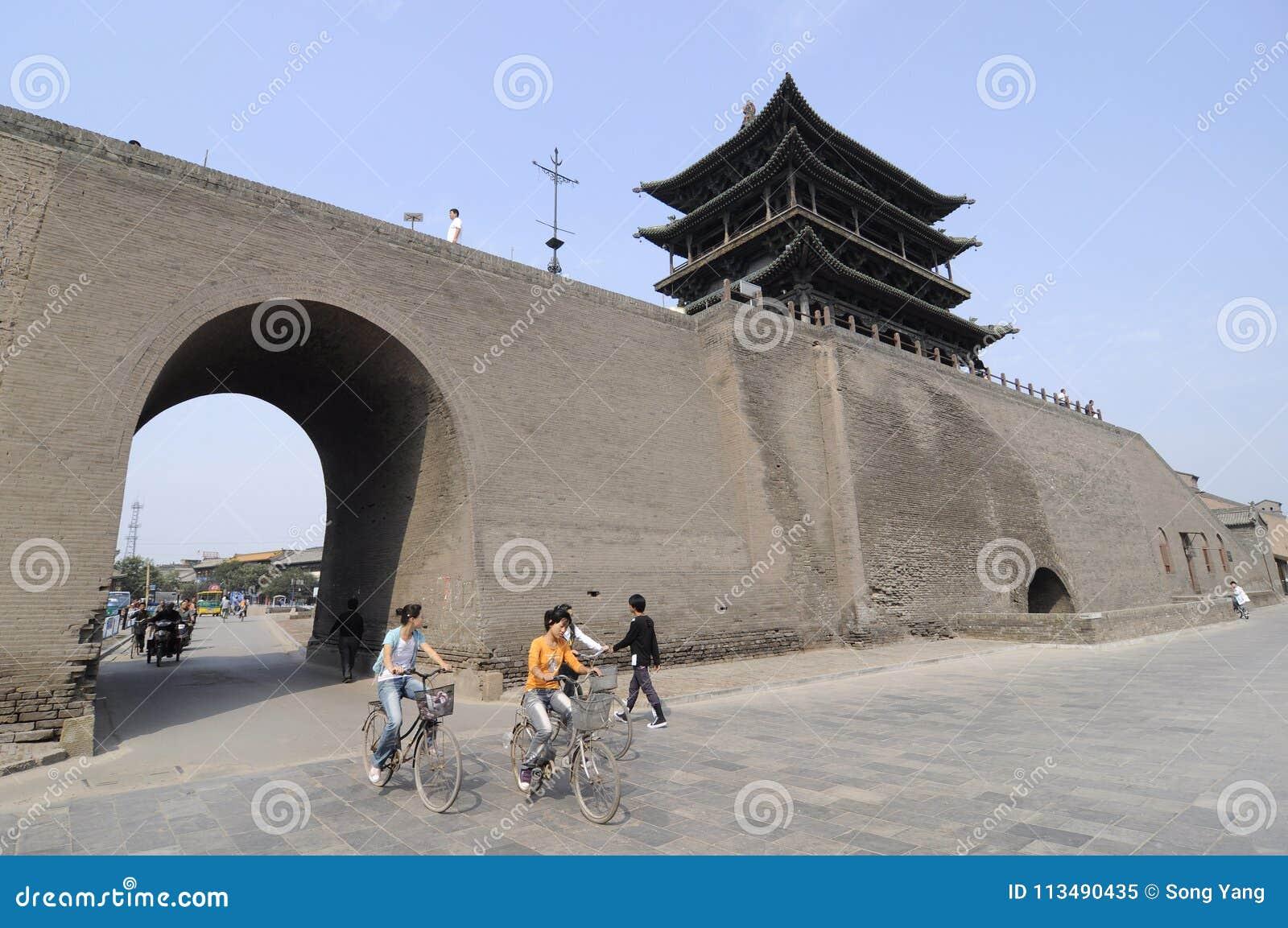 Pingyao plats-stad port och vägg