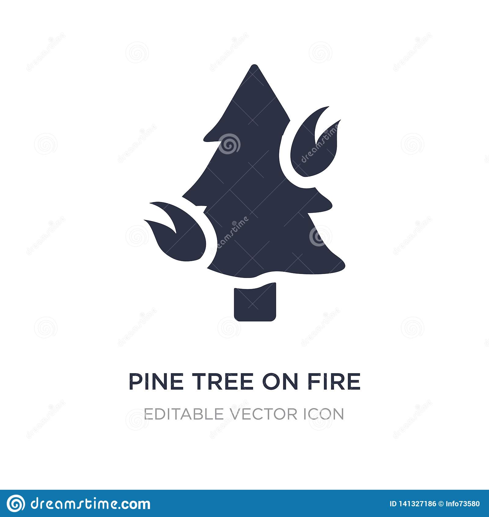 Pinheiro no ícone do fogo no fundo branco Ilustração simples do elemento do conceito da natureza