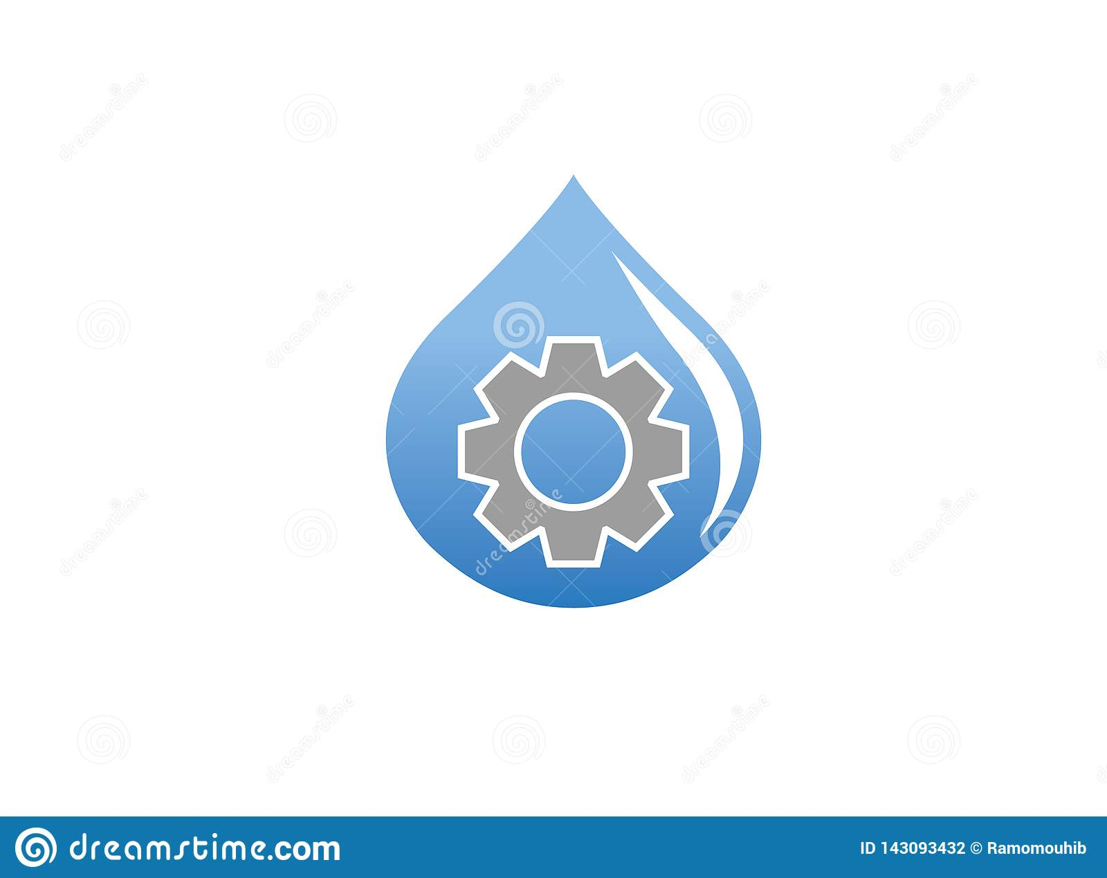 Pinion gear inside a drop of water for logo design