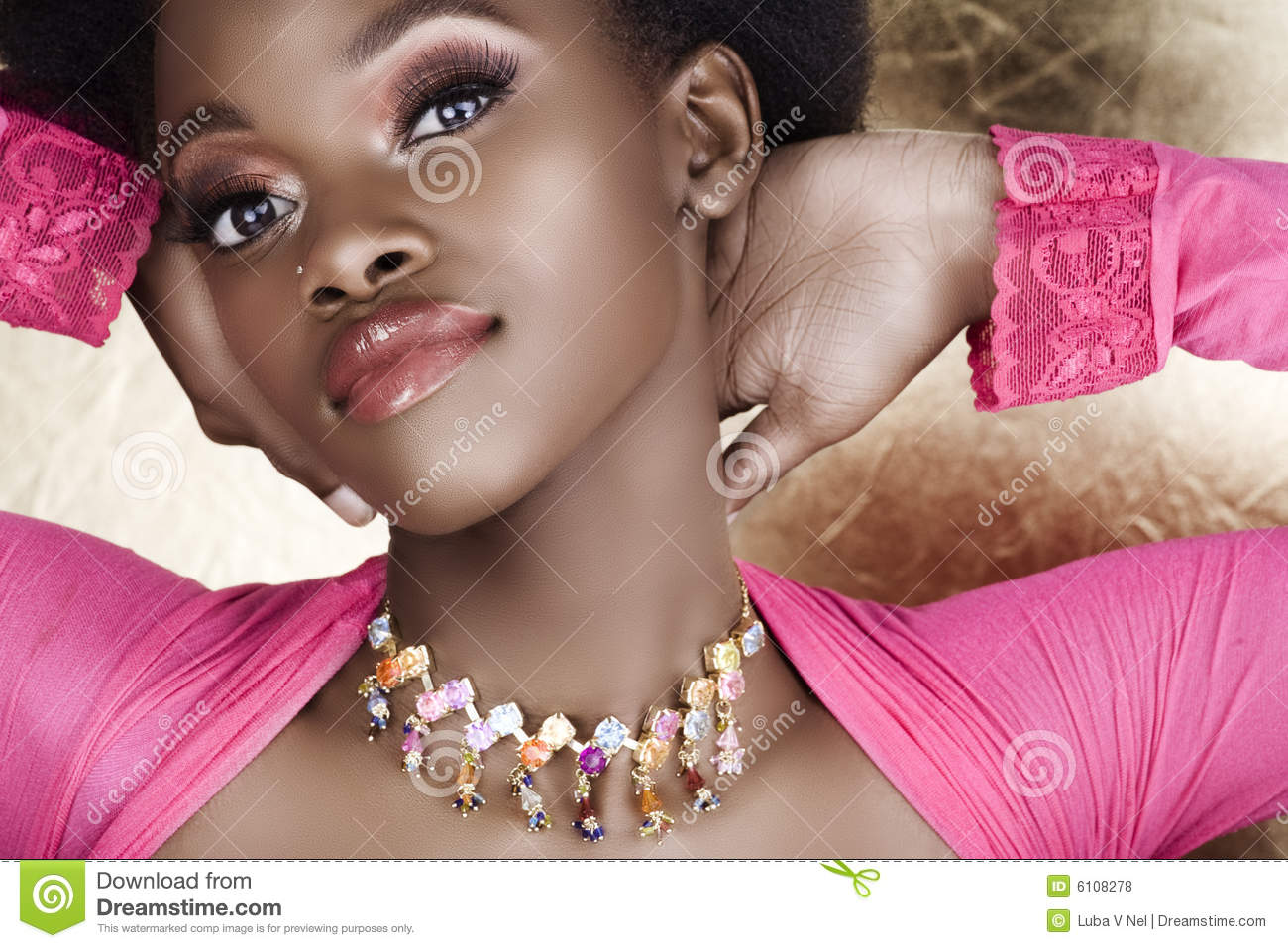 Pink African woman