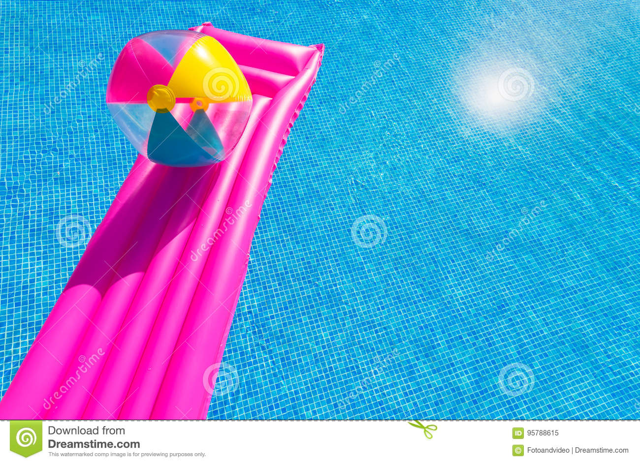 Swimming Pool Beach Ball Background pink air bed and beachball on swimming pool stock photo - image