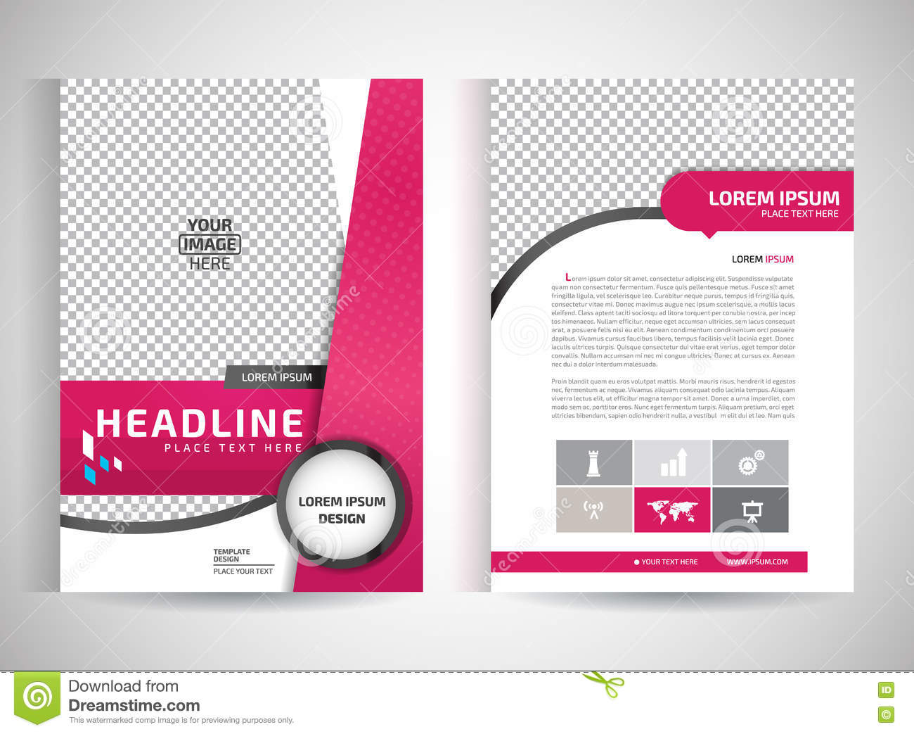Pink annual report brochure flyer design template vector for Background brochure templates