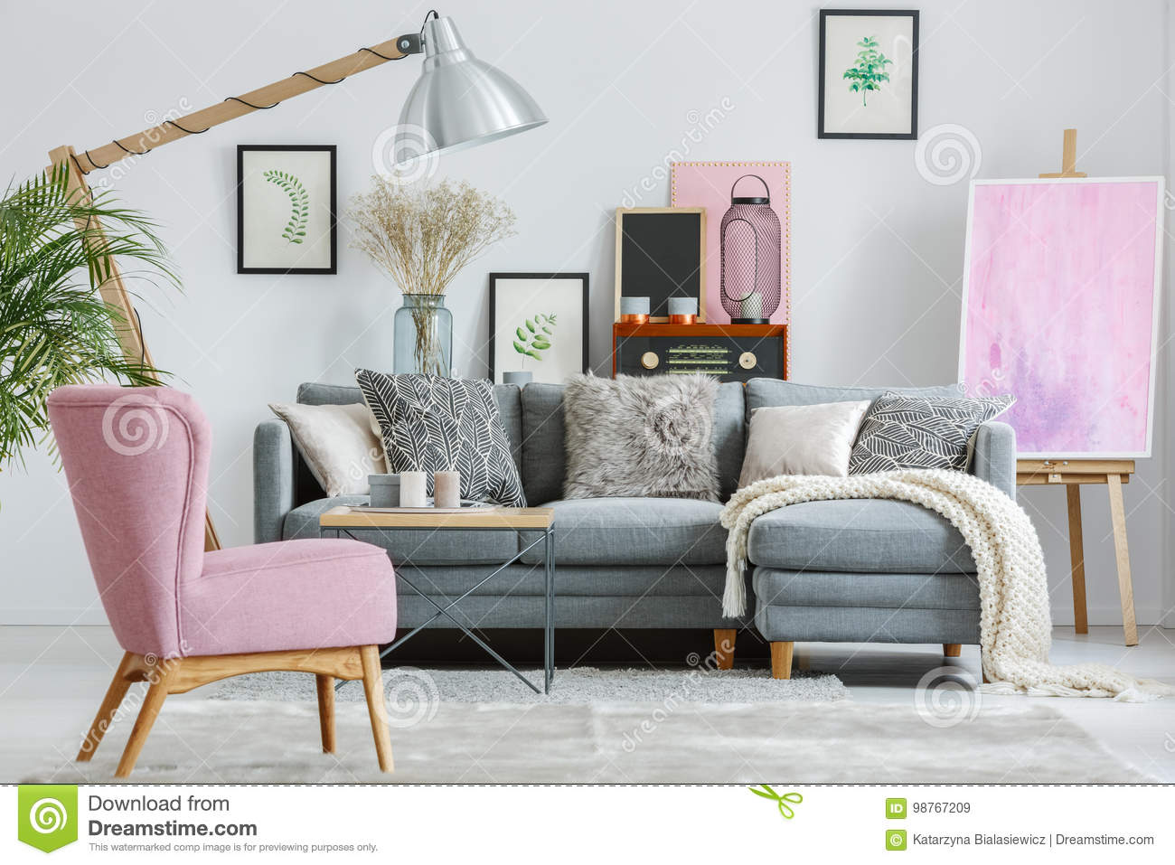 Pink Armchair On Grey Carpet Stock Image Image Of Loft Designer
