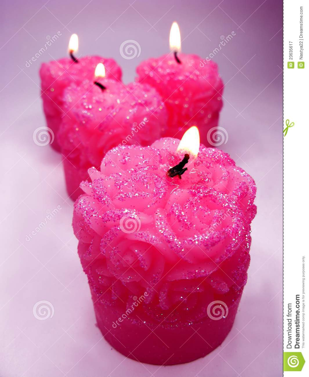 Pink aroma spa scented candles set stock image image for Spa smelling candles