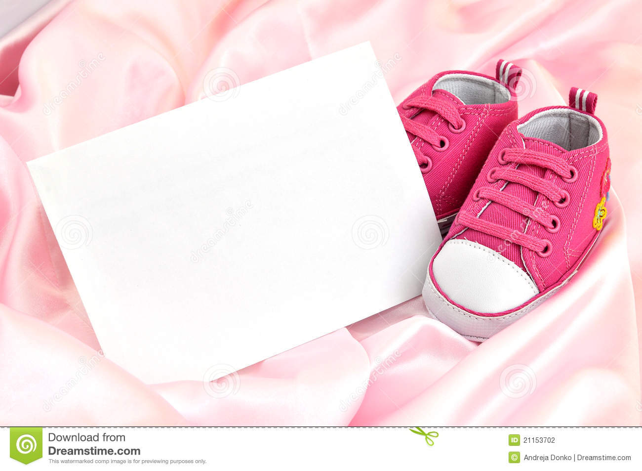 59f82a4e3742 Pink Baby Booties. And a blank card on pink silk stock photography