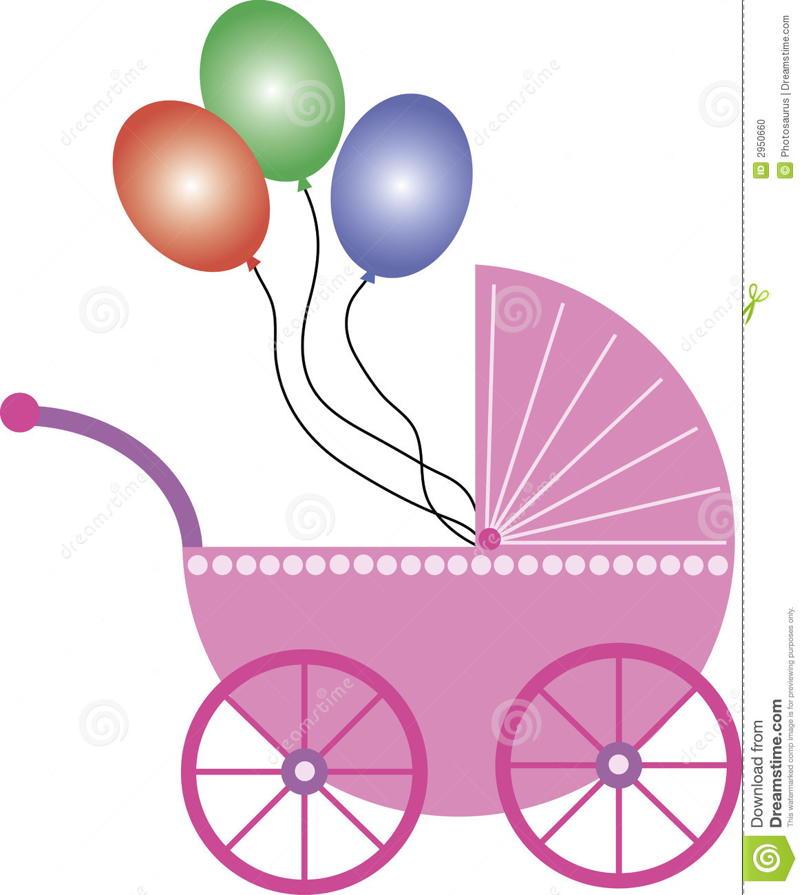Pink Baby Buggy With Balloons Stock Photo - Image: 2950660