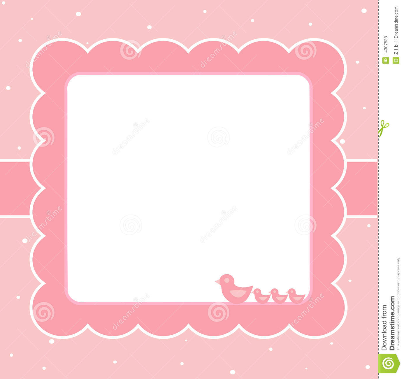 Pink baby card stock vector. Image of born, message, celebration - 14307538