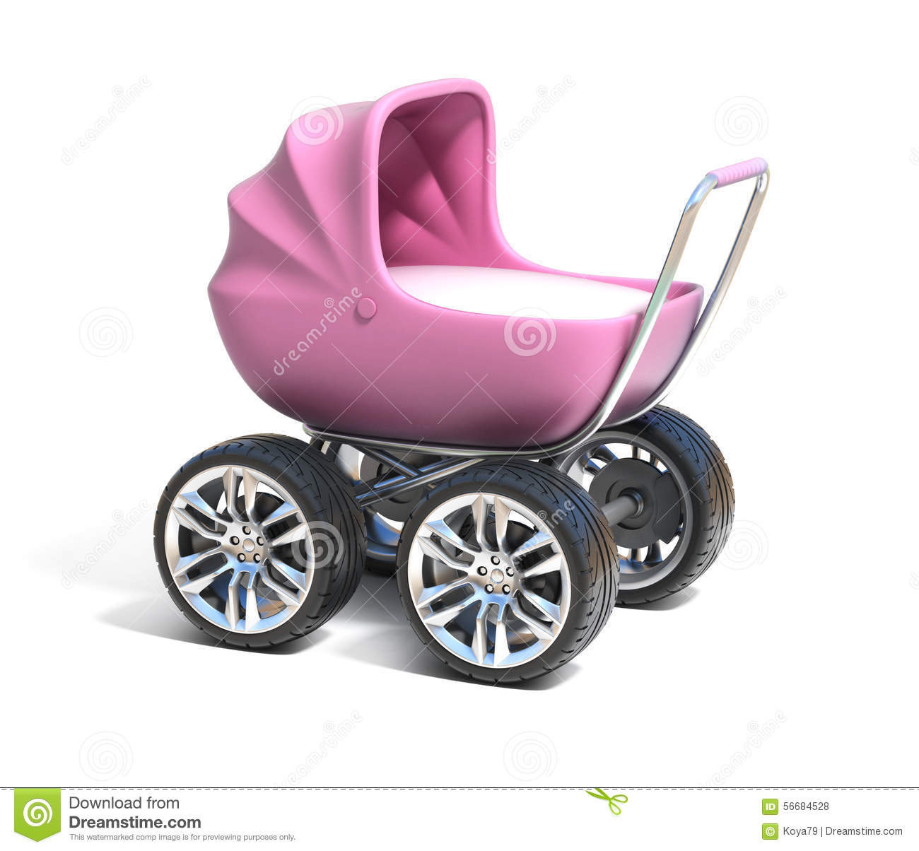 Pink Baby Carriage With Sport Car Wheels Stock