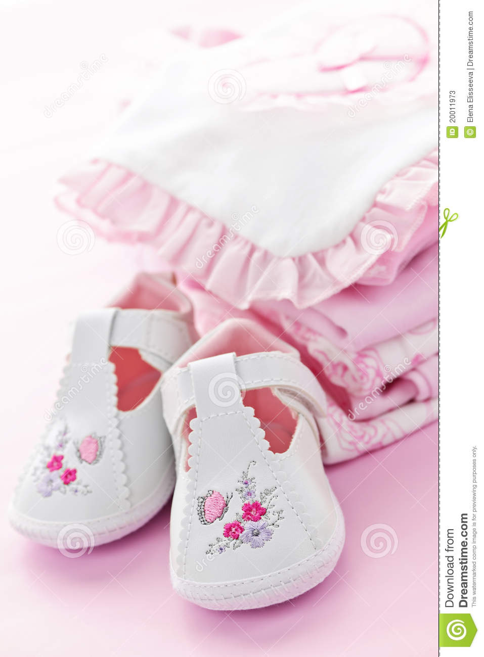 Pink Baby Clothes For Infant Girl Stock Image - Image of ...