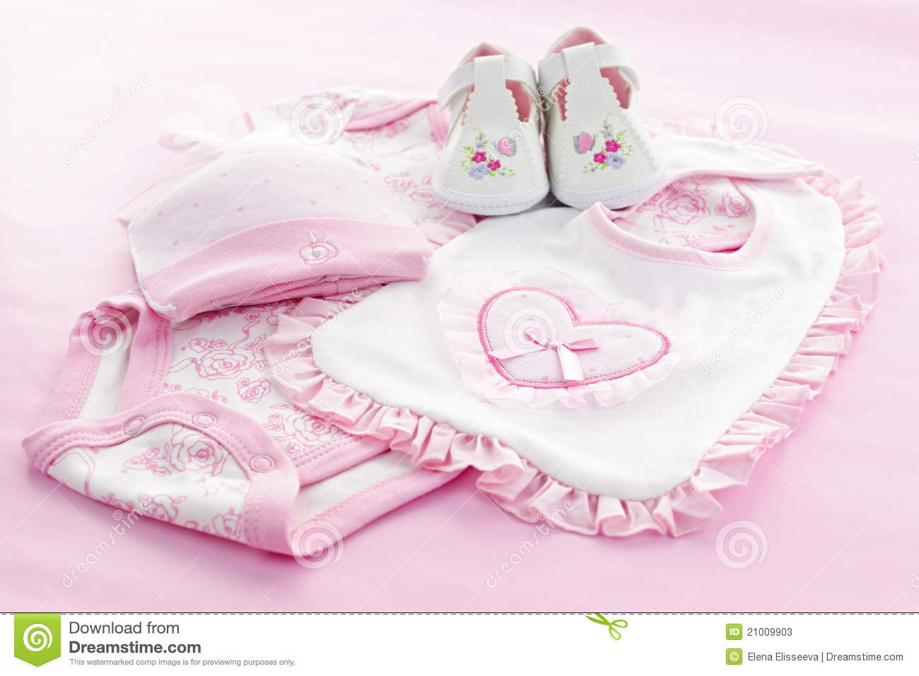 Pink Baby Clothes For Infant Girl Stock Image Image of
