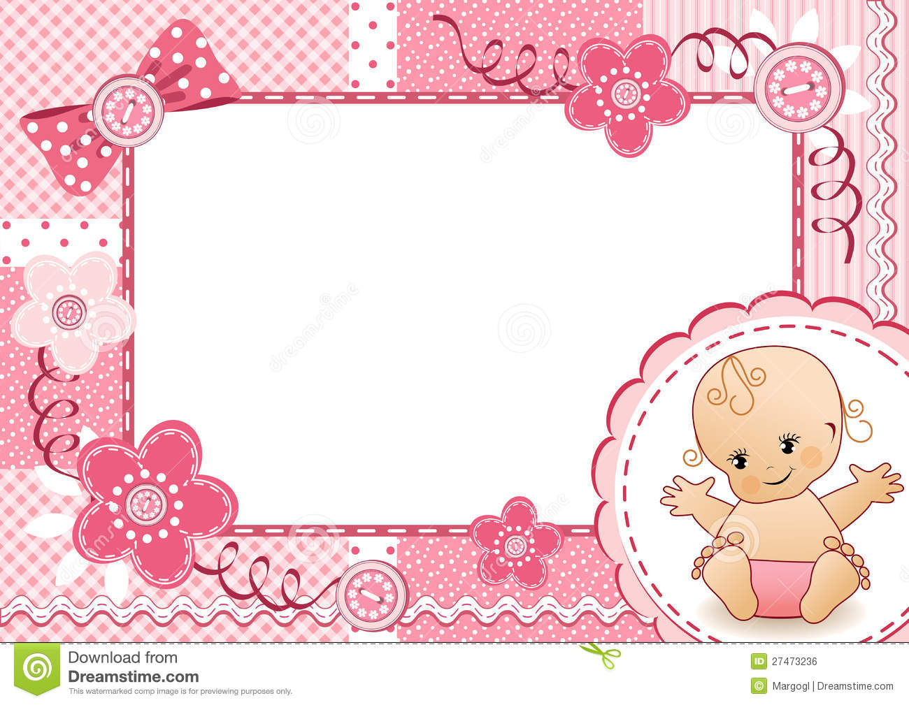 Pink baby girl picture frame stock image image of album empty pink baby frame royalty free stock image jeuxipadfo Images