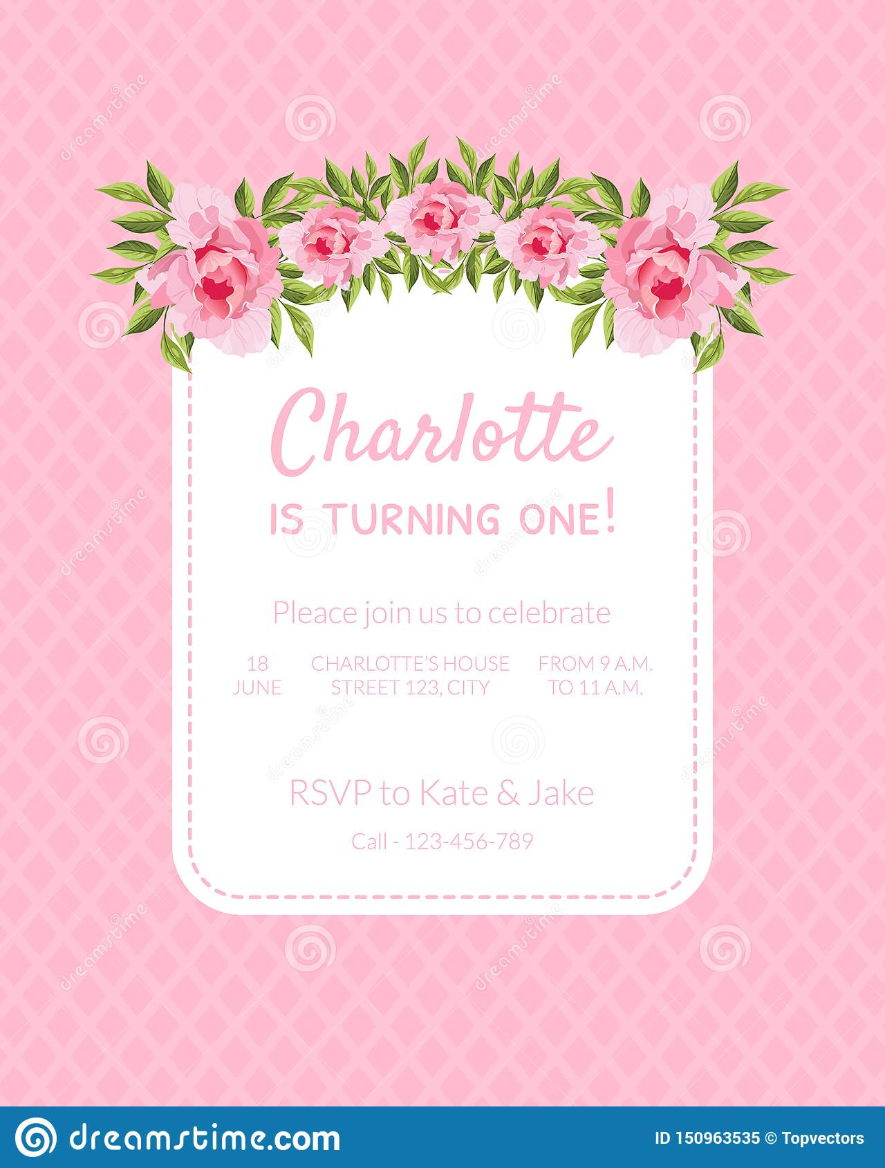 Pink Baby Girl Birthday Invitation Card Is Turning One With