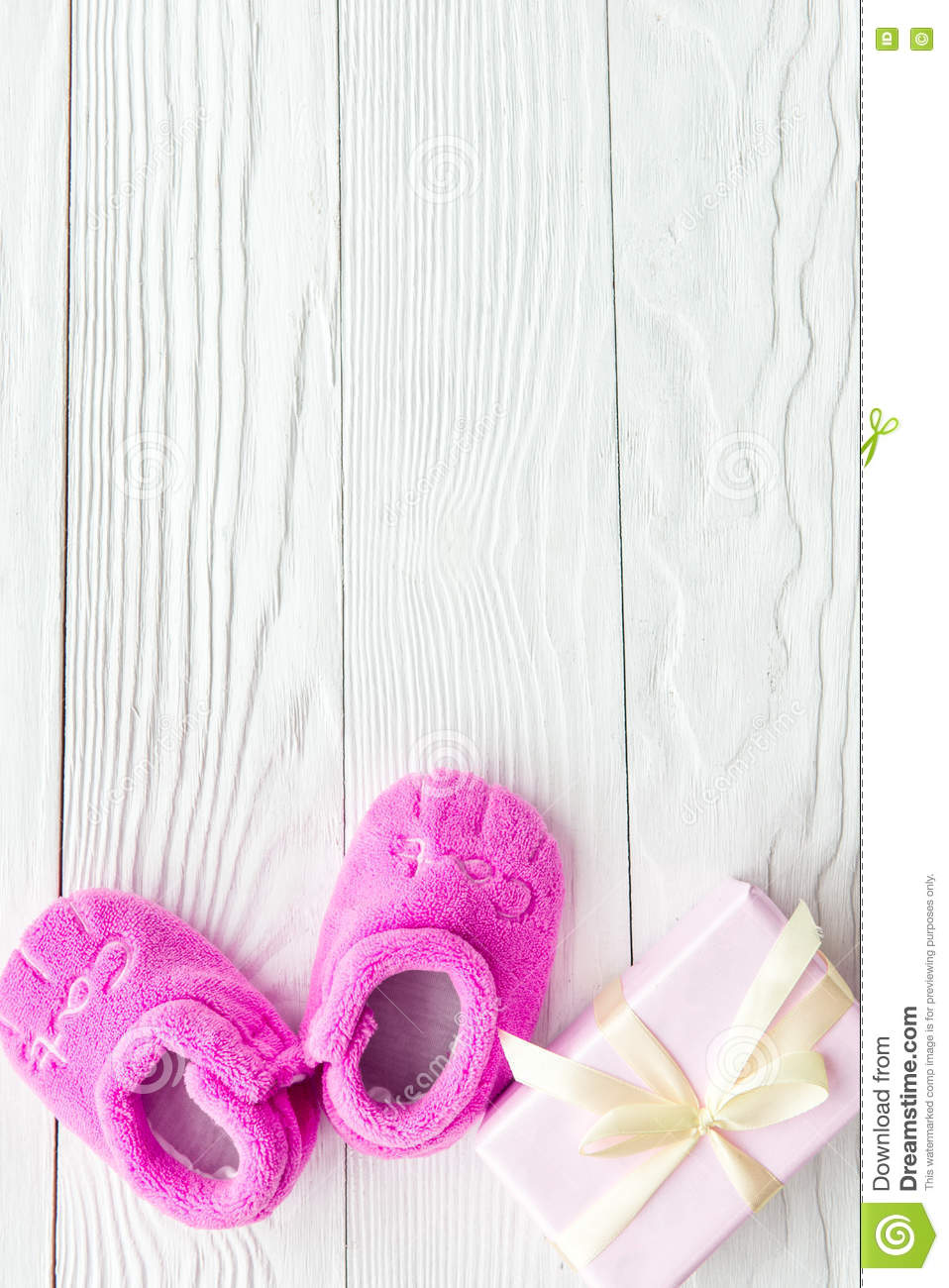 Pink Baby S Bootees On Wooden Background Stock Image Image Of
