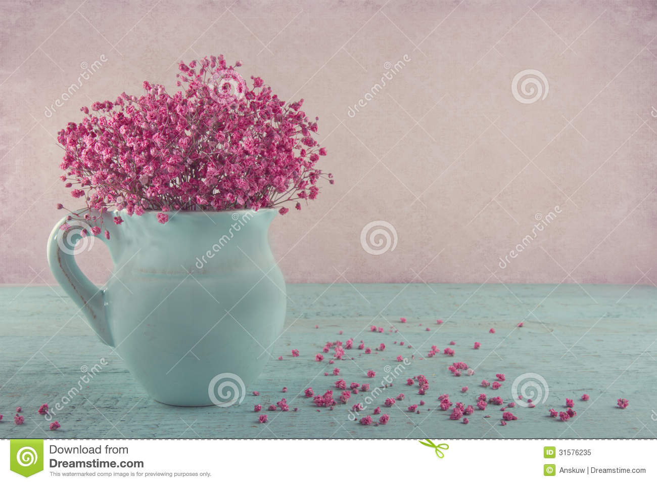 Pink babys breath flowers on wooden background stock photo image pink babys breath flowers in a blue jug royalty free stock photo mightylinksfo
