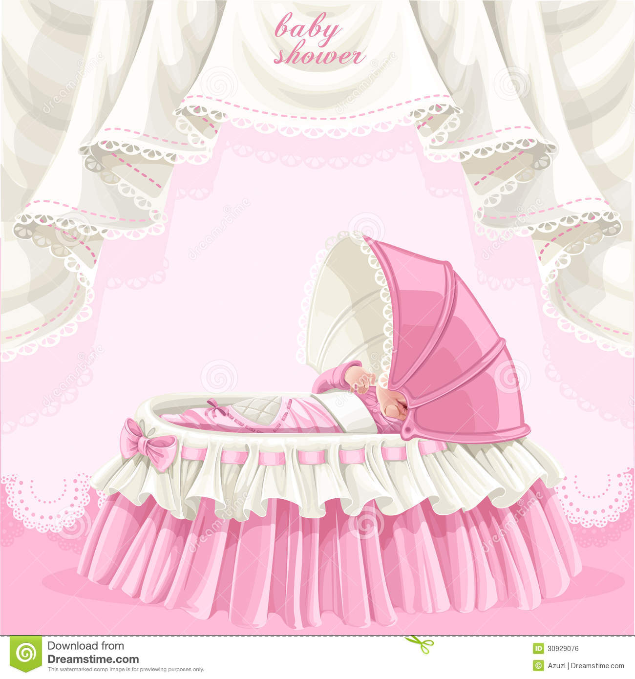 Pink Baby Shower Card With Cute Little Baby In The Stock