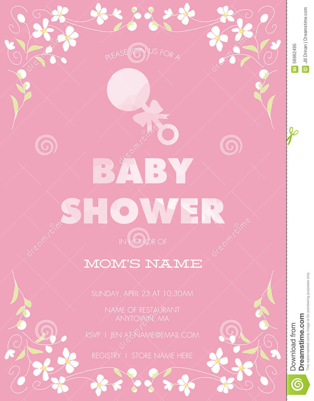 Pink Baby Shower Invitation Template With Abstract Flowers And - Pink baby shower invitation templates