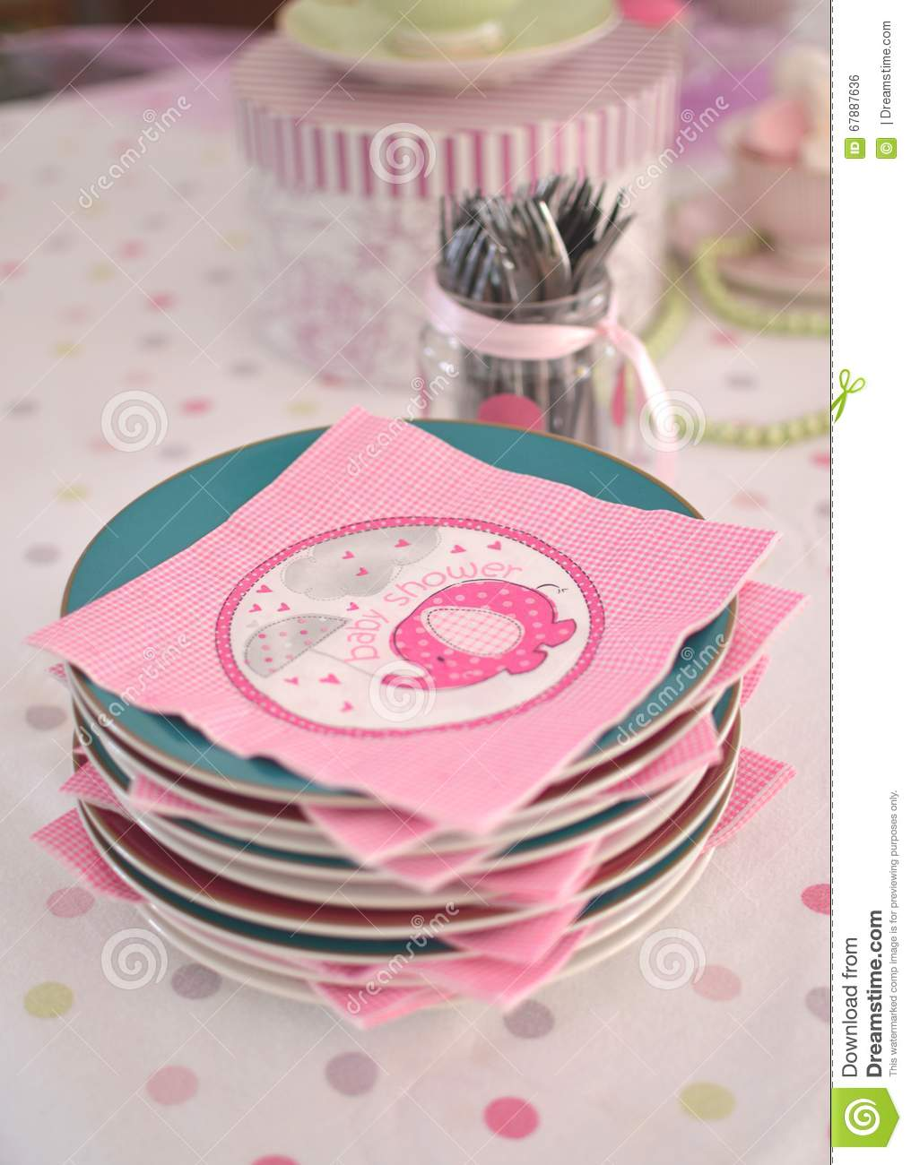 Pink Baby Shower Napkins On Plates Stock Photo Image Of Family