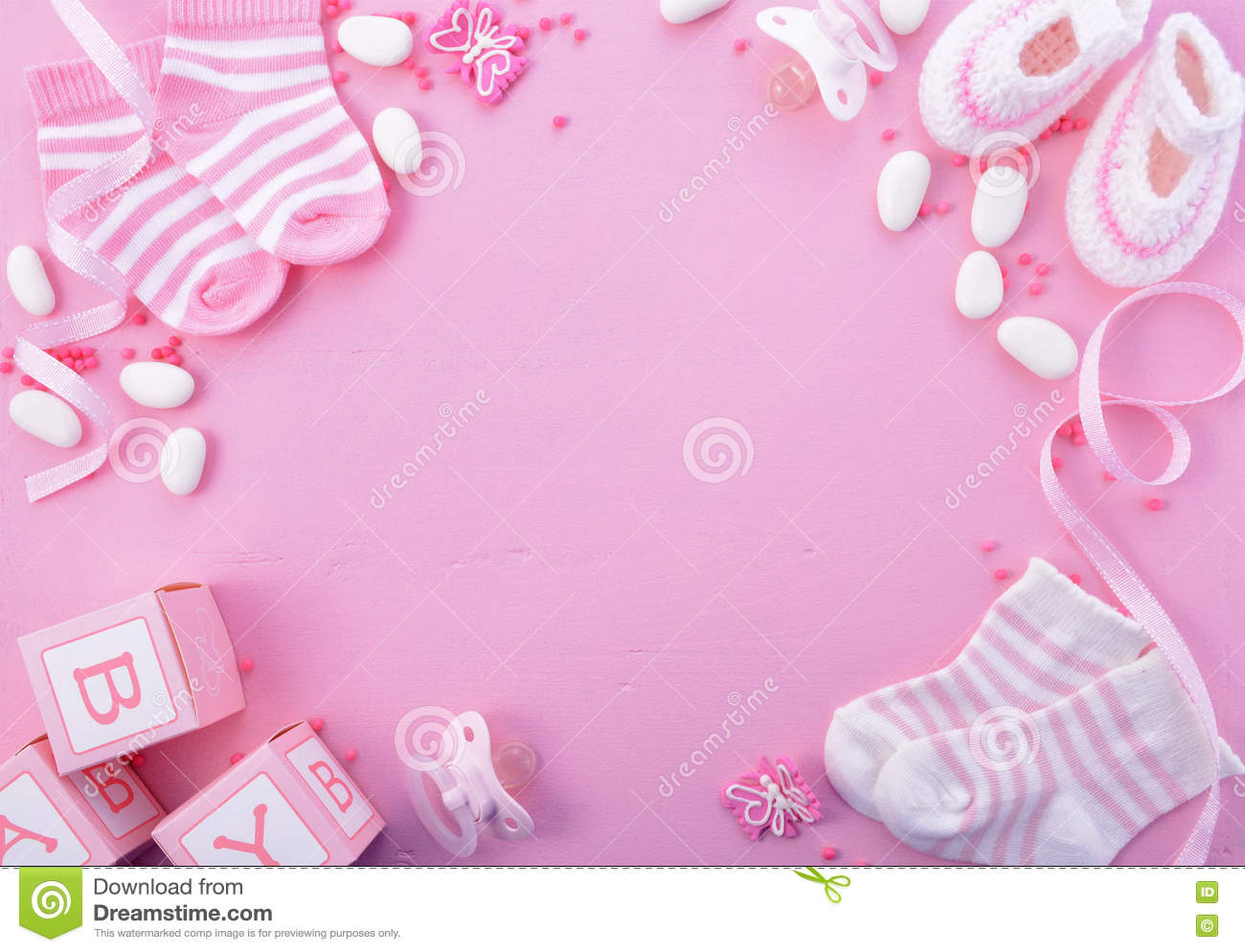 Pink Baby Shower Nursery Background Stock Image Image Of