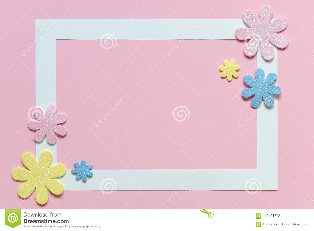 Pink Background With Colorful Flowers And Frame For Text Stock