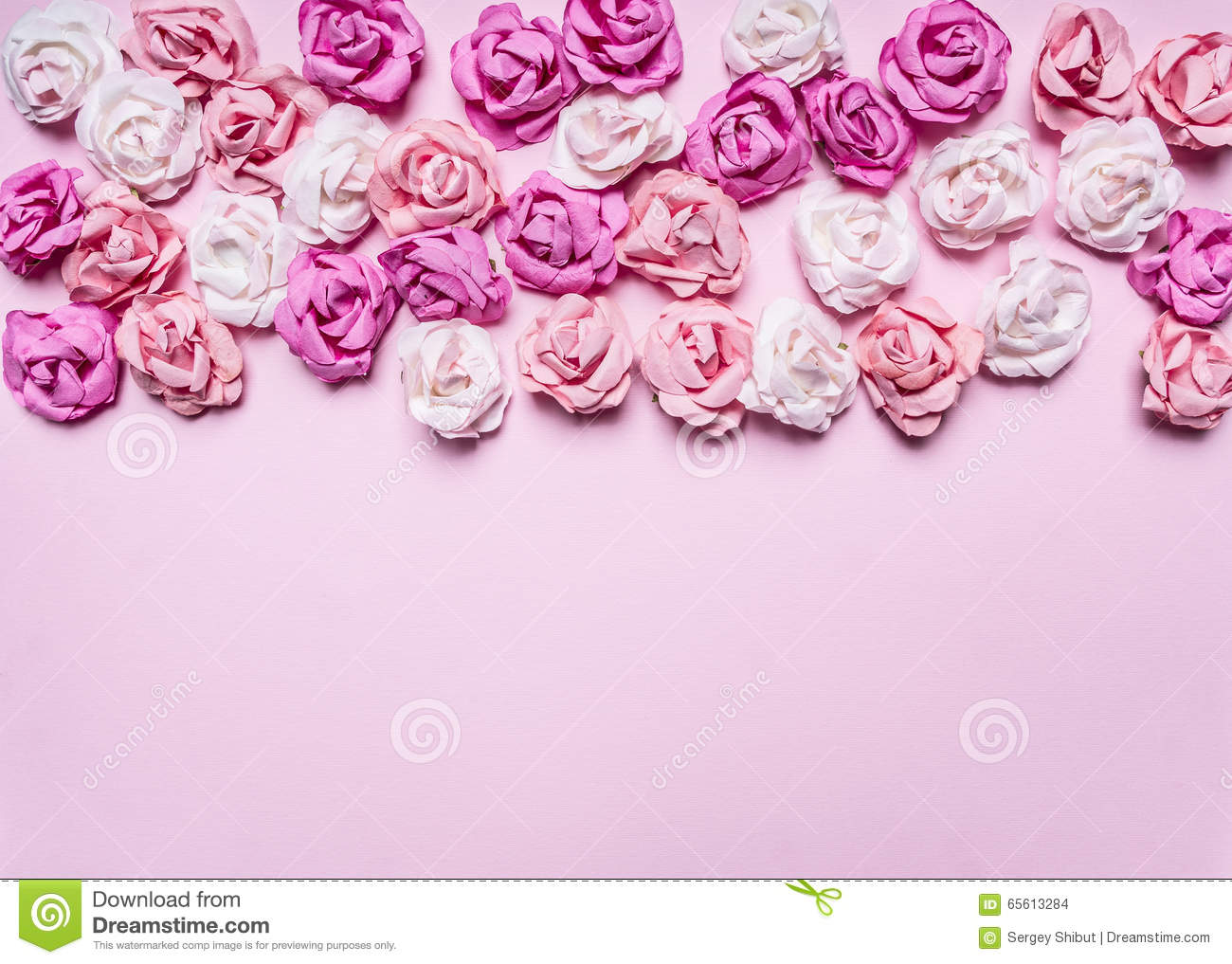 Pink Background With Colorful Paper Roses Decorations Valentine S