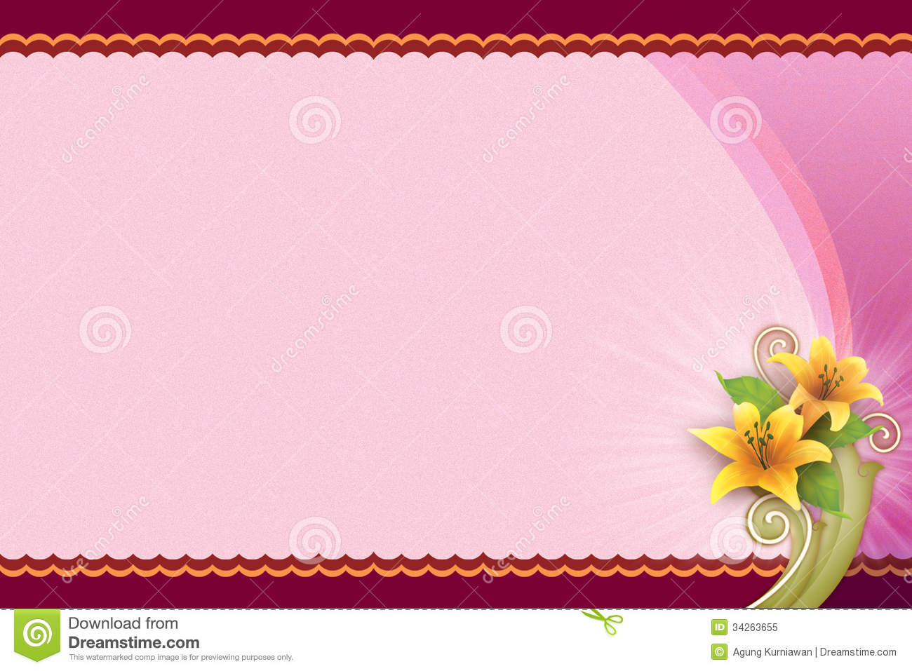 Pink Background With Flower For Blank Card Royalty Free ...