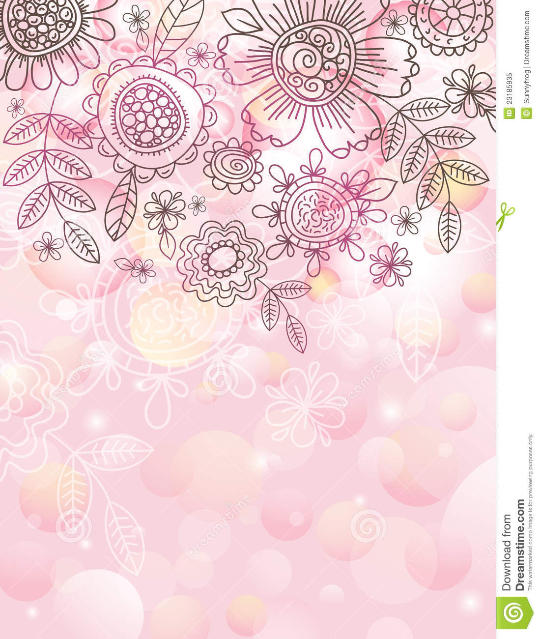 Pink background with hand draw flowers